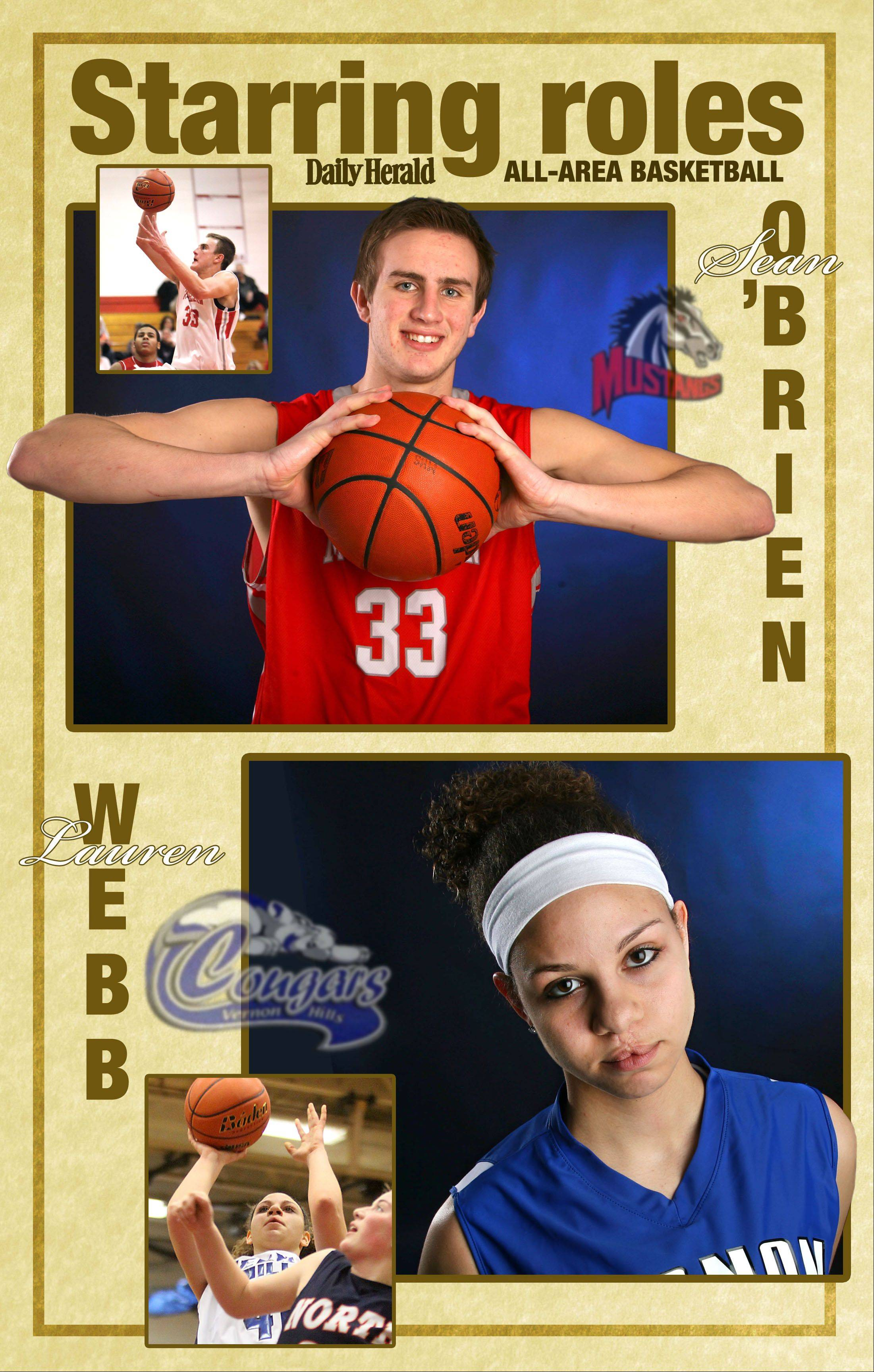 All-area Daily Herald basketball players in Lake County are Sean O'Brien of Mundelein and Lauren Webb of Vernon Hills.