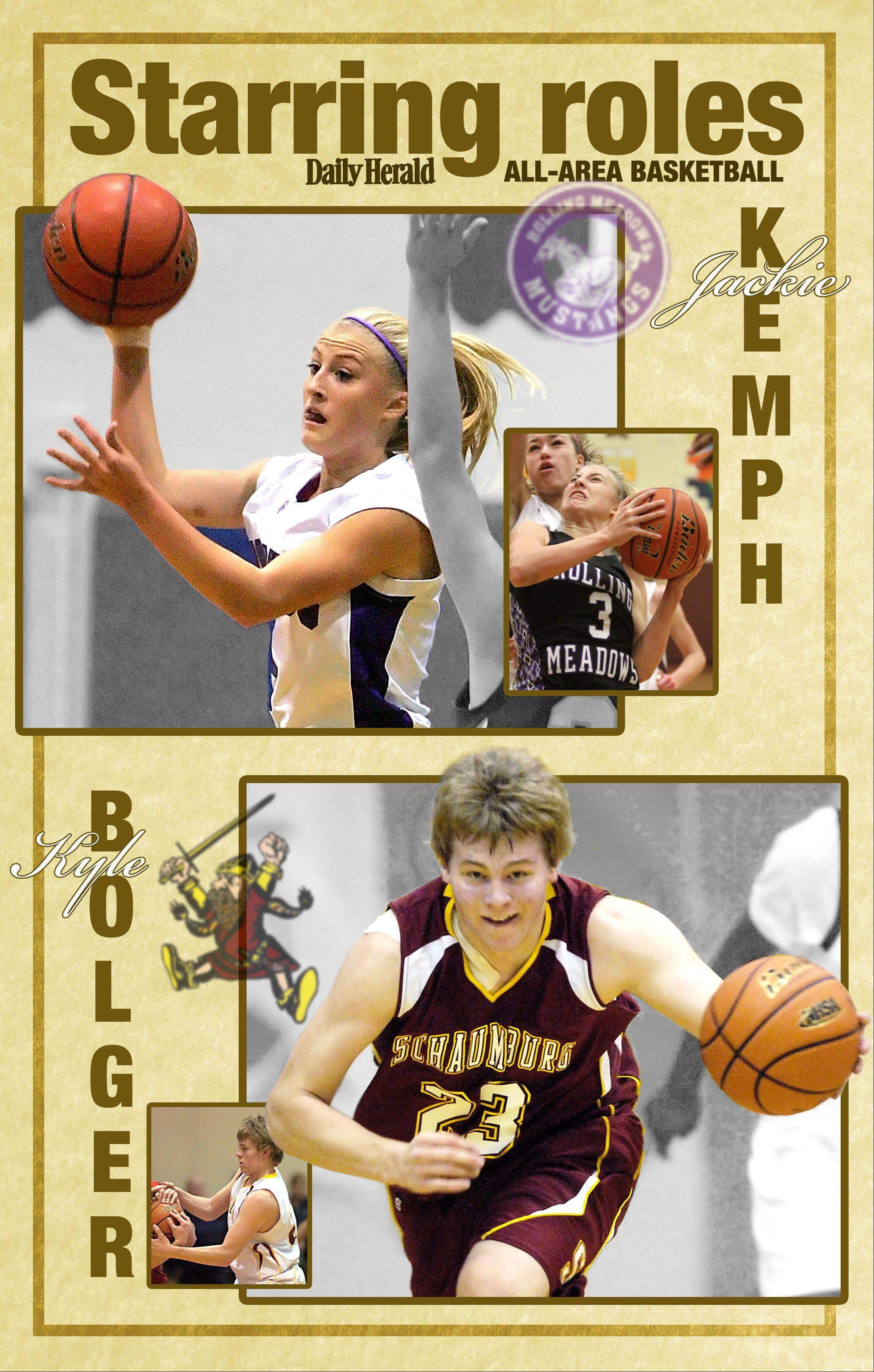 All-area Daily Herald basketball players in the Northwest suburbs are Jackie Kemph of Rolling Meadows and Kyle Bolger of Schaumburg.