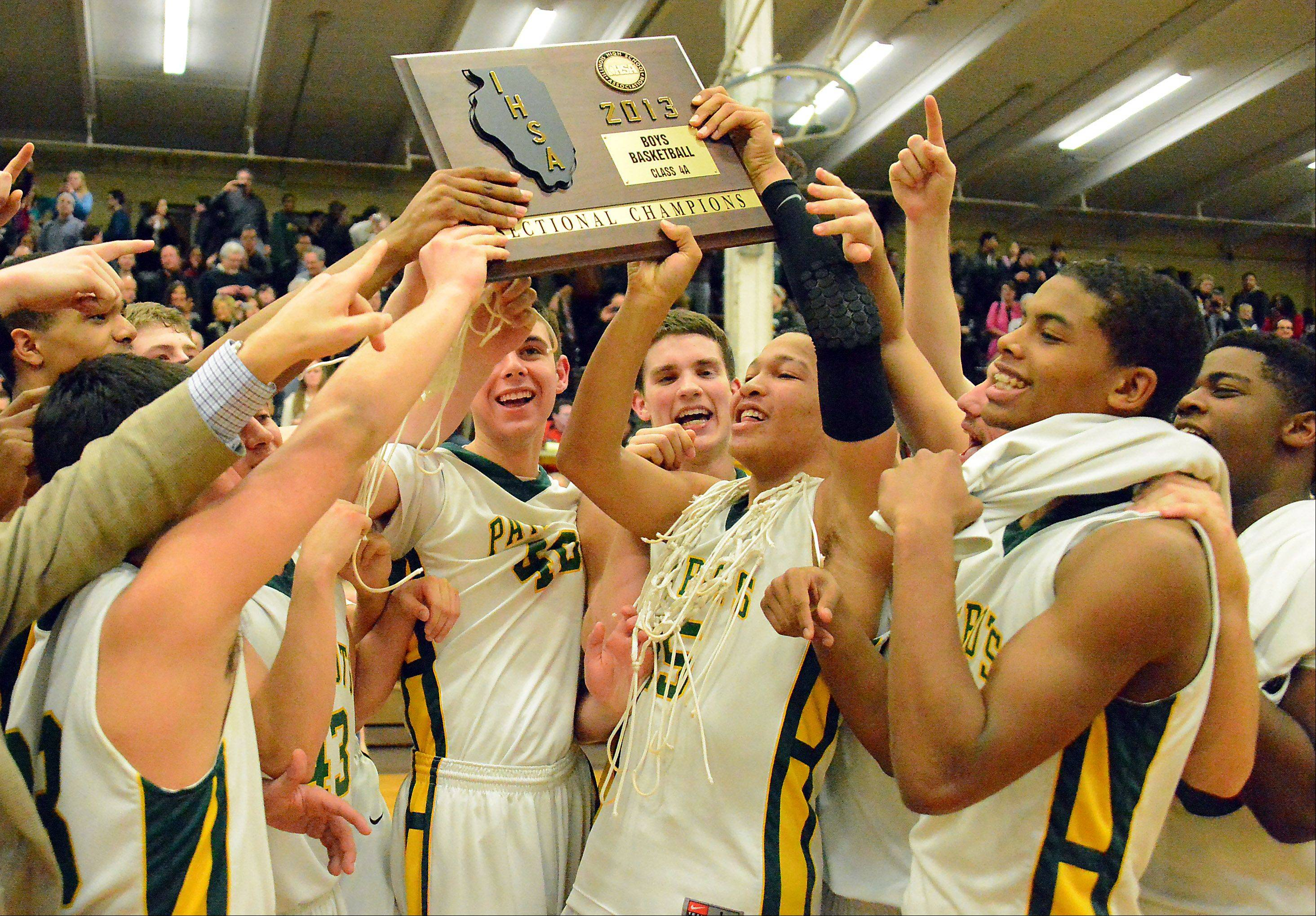Mark Welsh/mwelsh@dailyherald.com  Stevenson celebrates its victory over St. Viator in the Class 4A sectional championship at Waukegan.