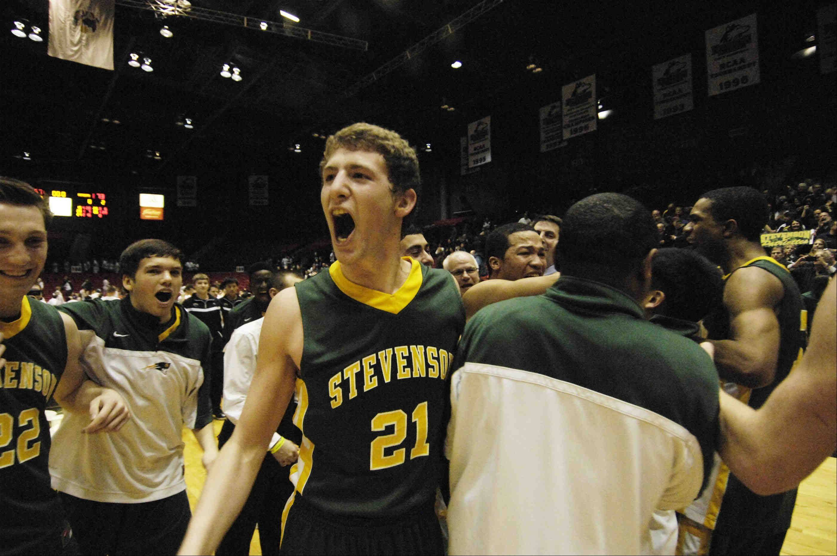 Stevenson's Andy Stempel turns toward the crowd after the Patriots defeated Rockford Boylan on Tuesday in the Class 4A NIU supersectional in DeKalb.