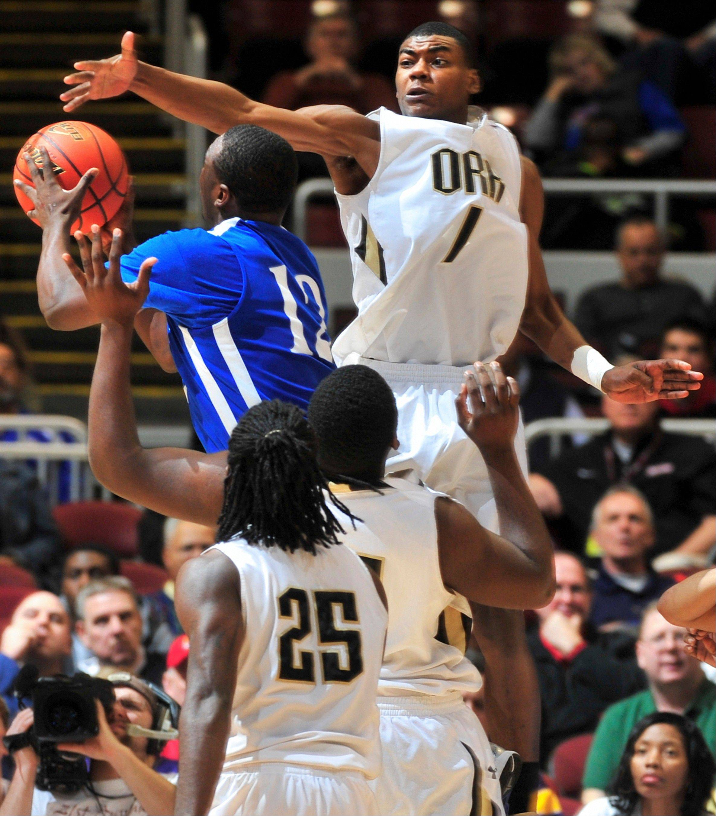 Chicago Orr's Louis Adams rises to block the shot of Cahokia's Vincent Jackson Jr. during Cahokia's Class 3A state semifinal victory Friday in Peoria.