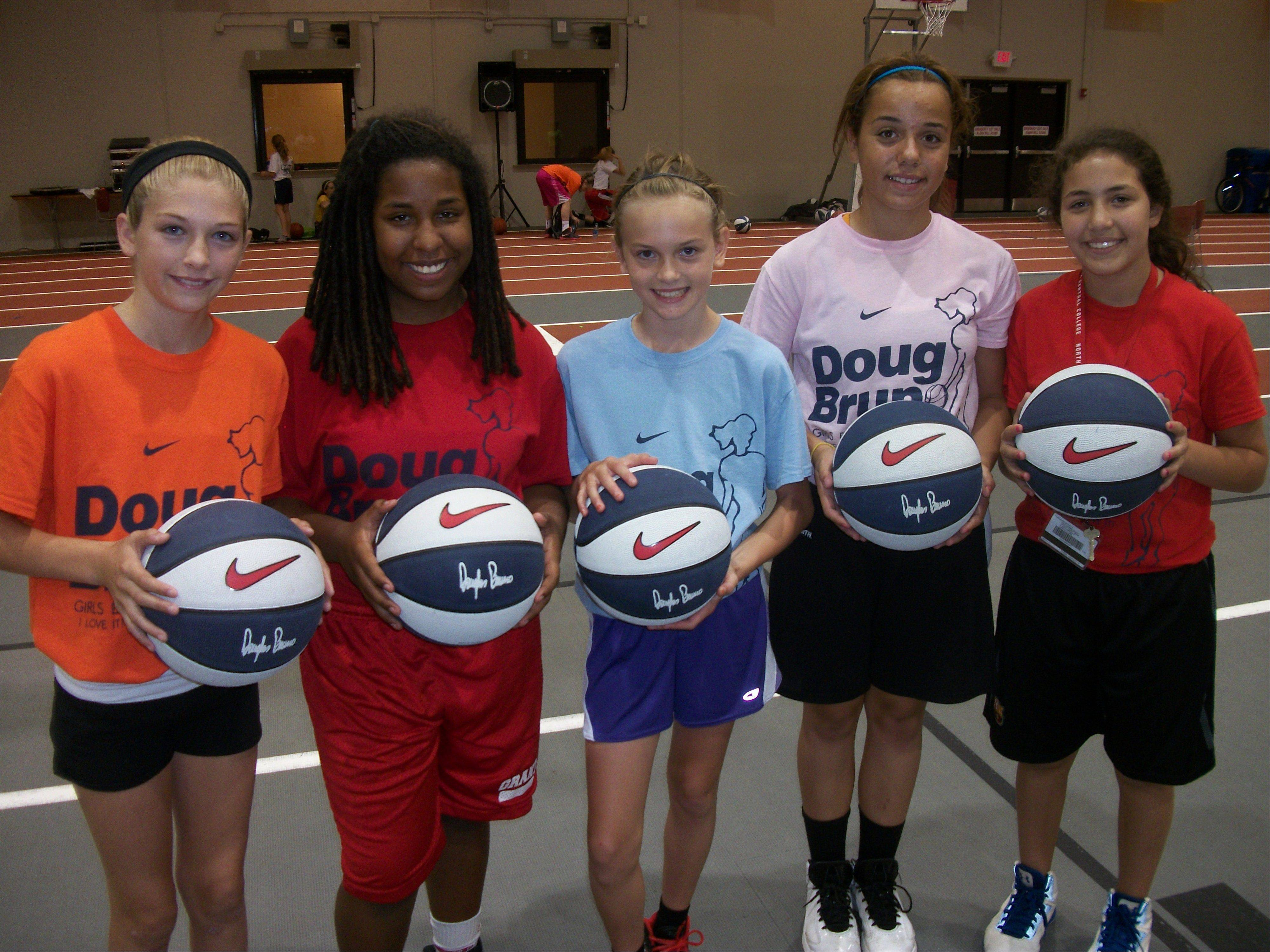 Enjoying their experience at Doug Bruno's basketball camp this summer were, from left, Brooke Karpinske, Liz Schram, Kelsey McGraw, Gabby Rogalovich and Mercedes Uribe.
