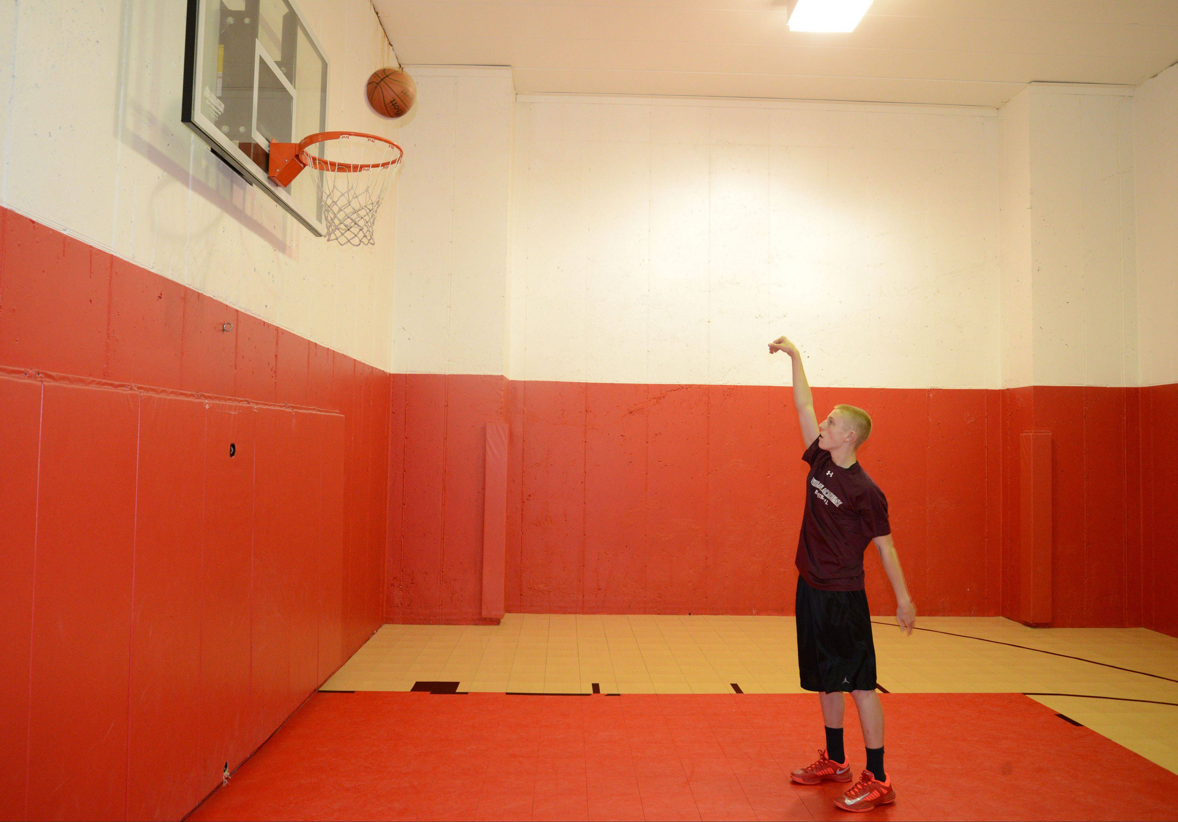 Three-point shooting wiz Josh Ruggles practices from his home basketball court. In a video that went viral, Josh knocked down 135 shots in 5 minutes, missing only 12.