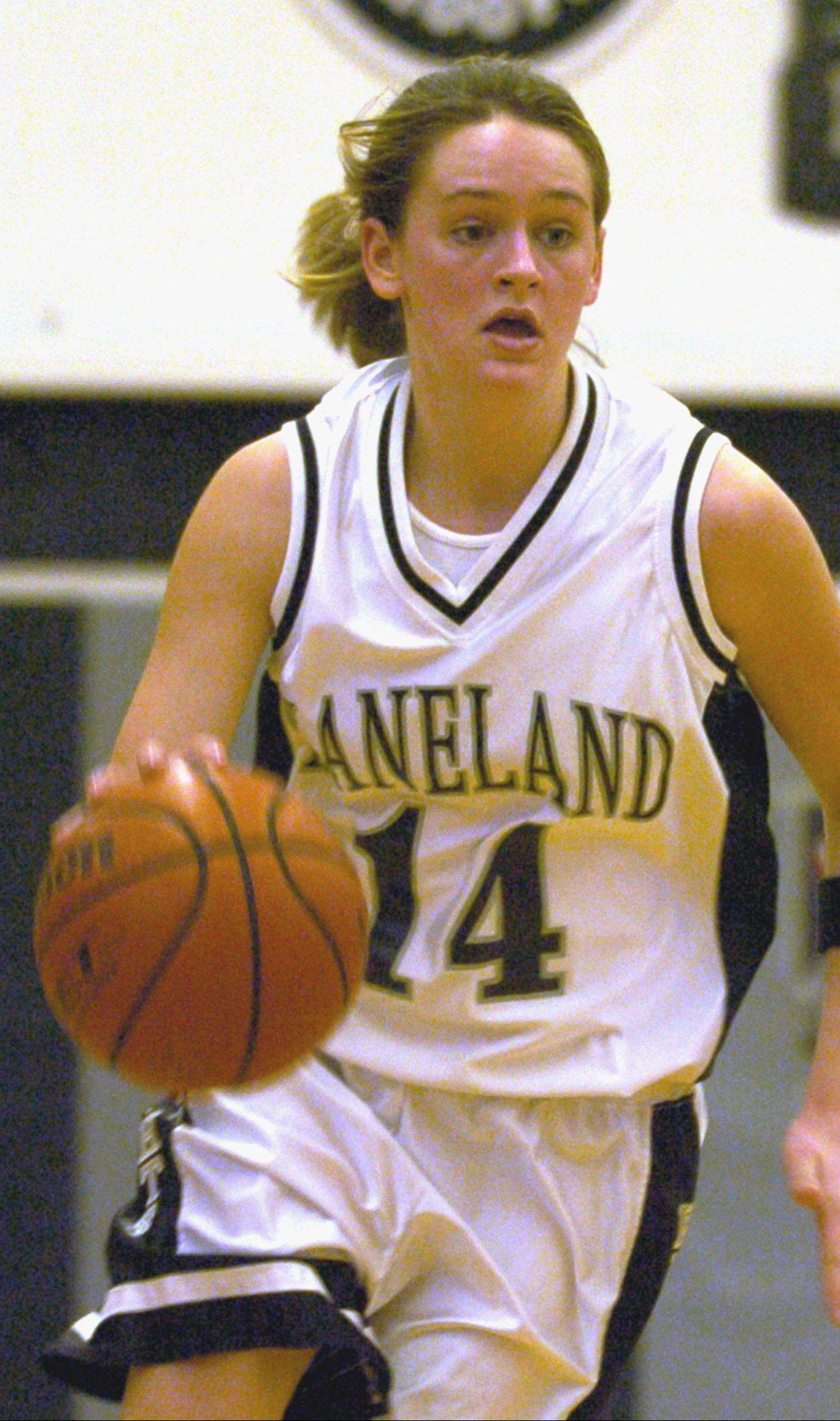 Lyndsie Long, pictured in her Kaneland and Elmhurst College playing days, is the new varsity girls coach at Downers Grove South.
