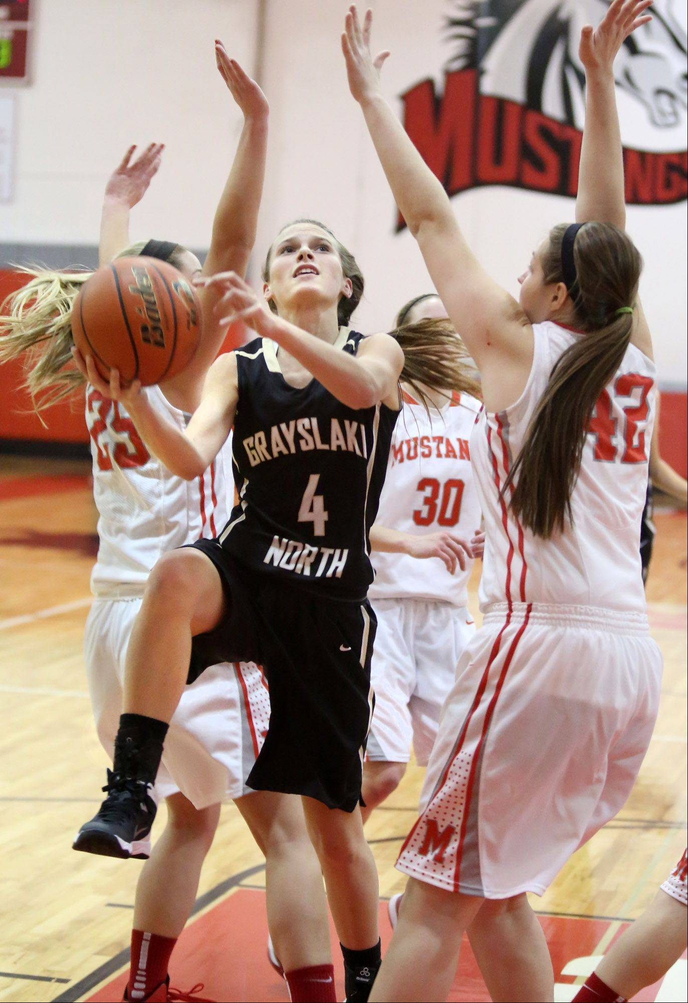 Grayslake North guard Maggie Fish splits three Mundelein defenders, including Taylor Lintner, right, at Mundelein on Friday.