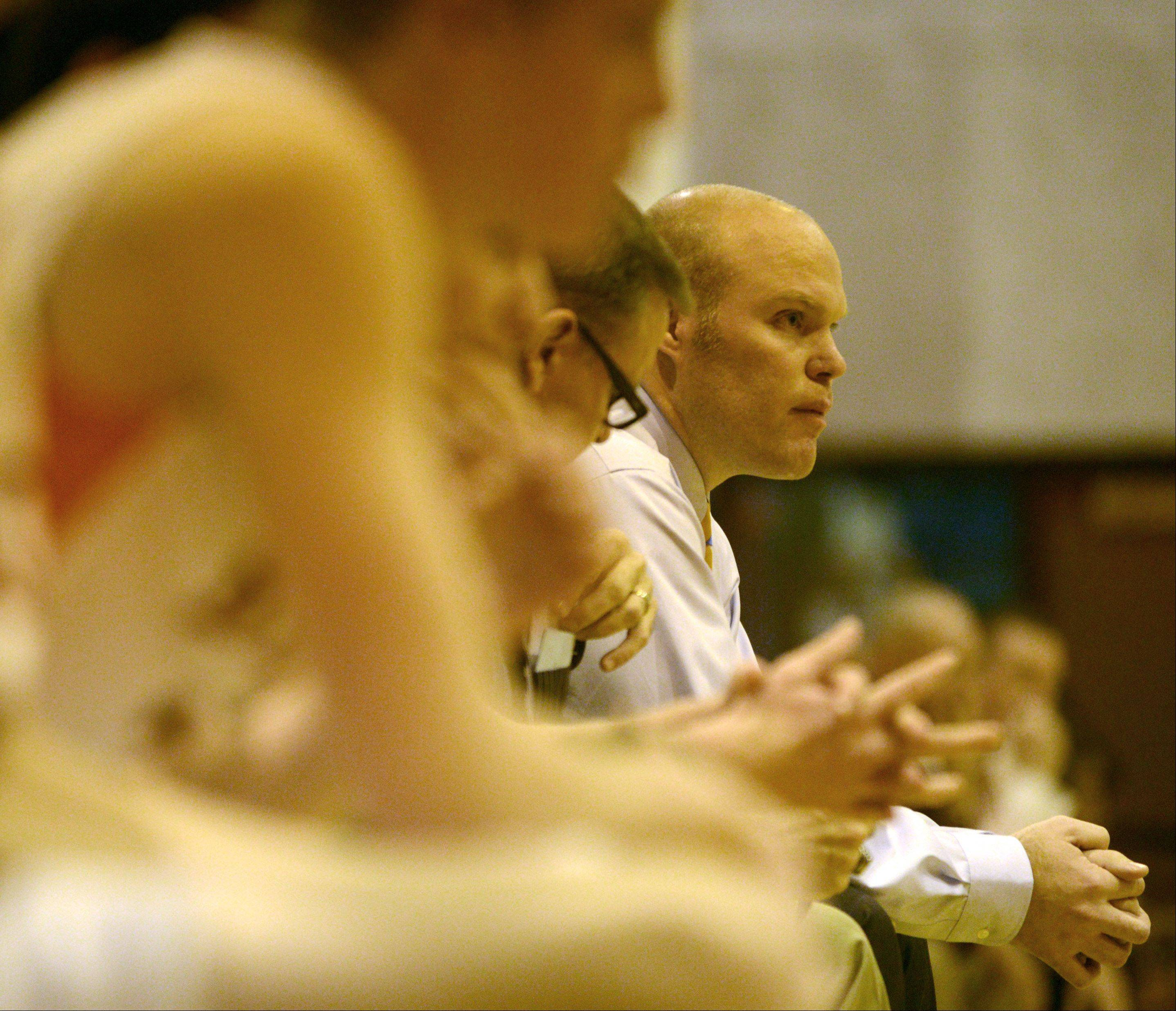 Buffalo Grove coach Keith Peterson keeps his eye on the action against Elgin at Buffalo Grove on Monday evening.