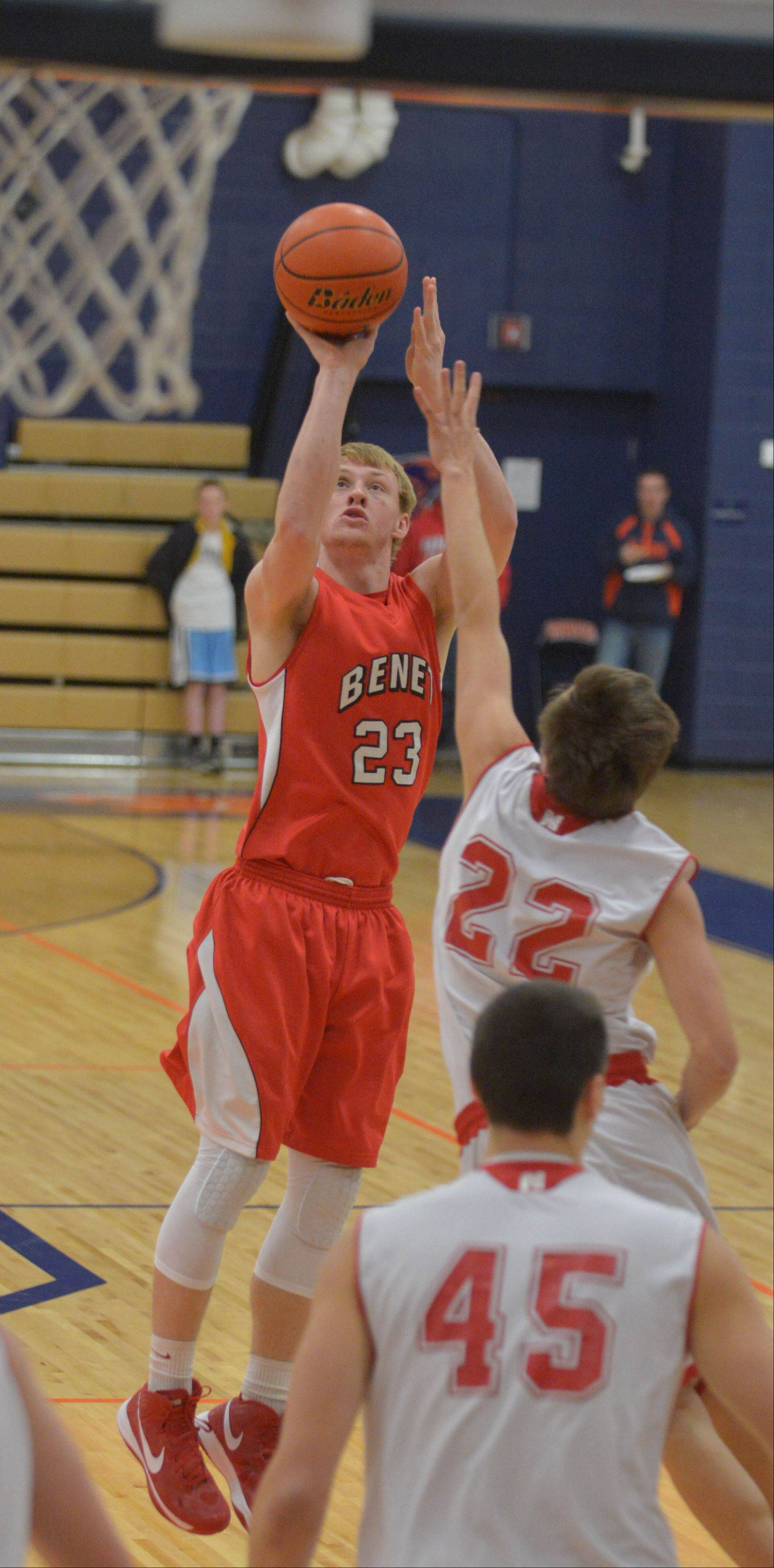 Colin Bonnett of Benet takes a shot during the Hoops for Healing boys basketball championship game Saturday.