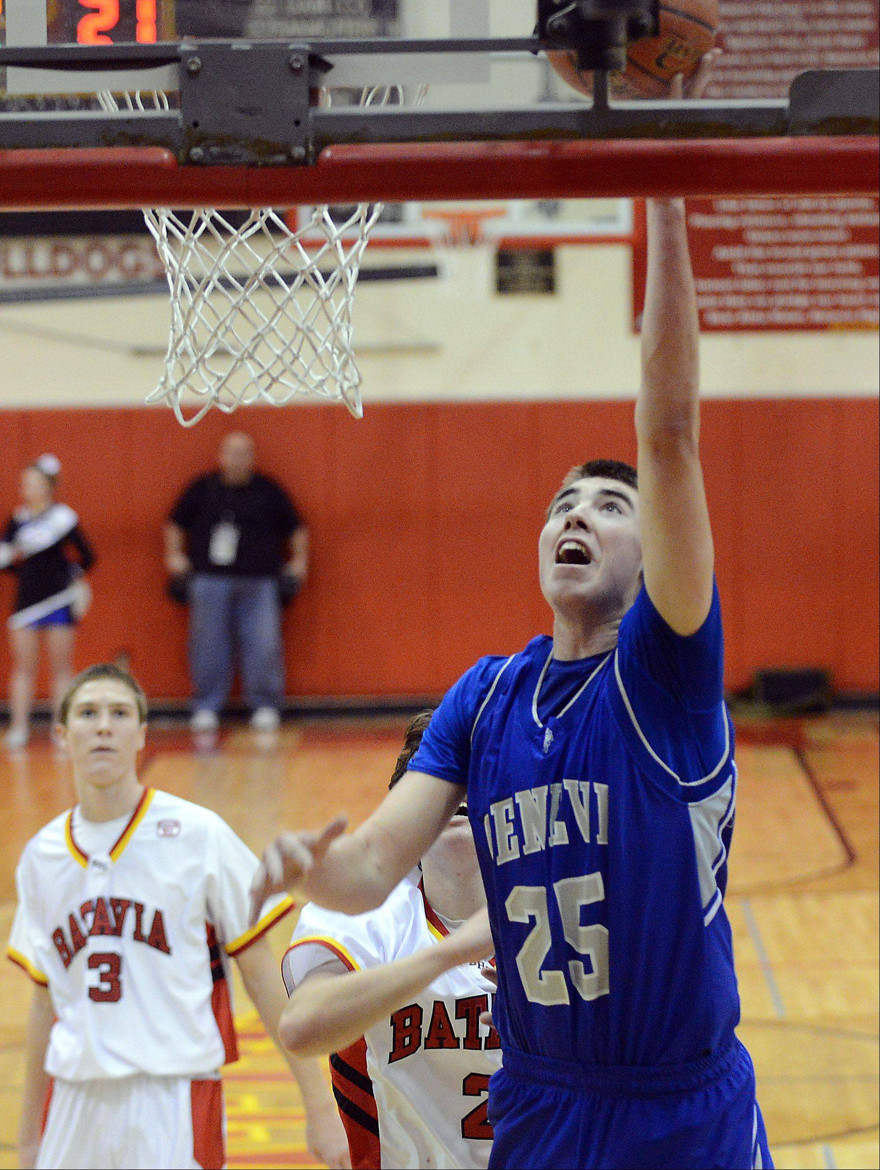 Geneva's Nate Navigato scores on a breakaway against Batavia.
