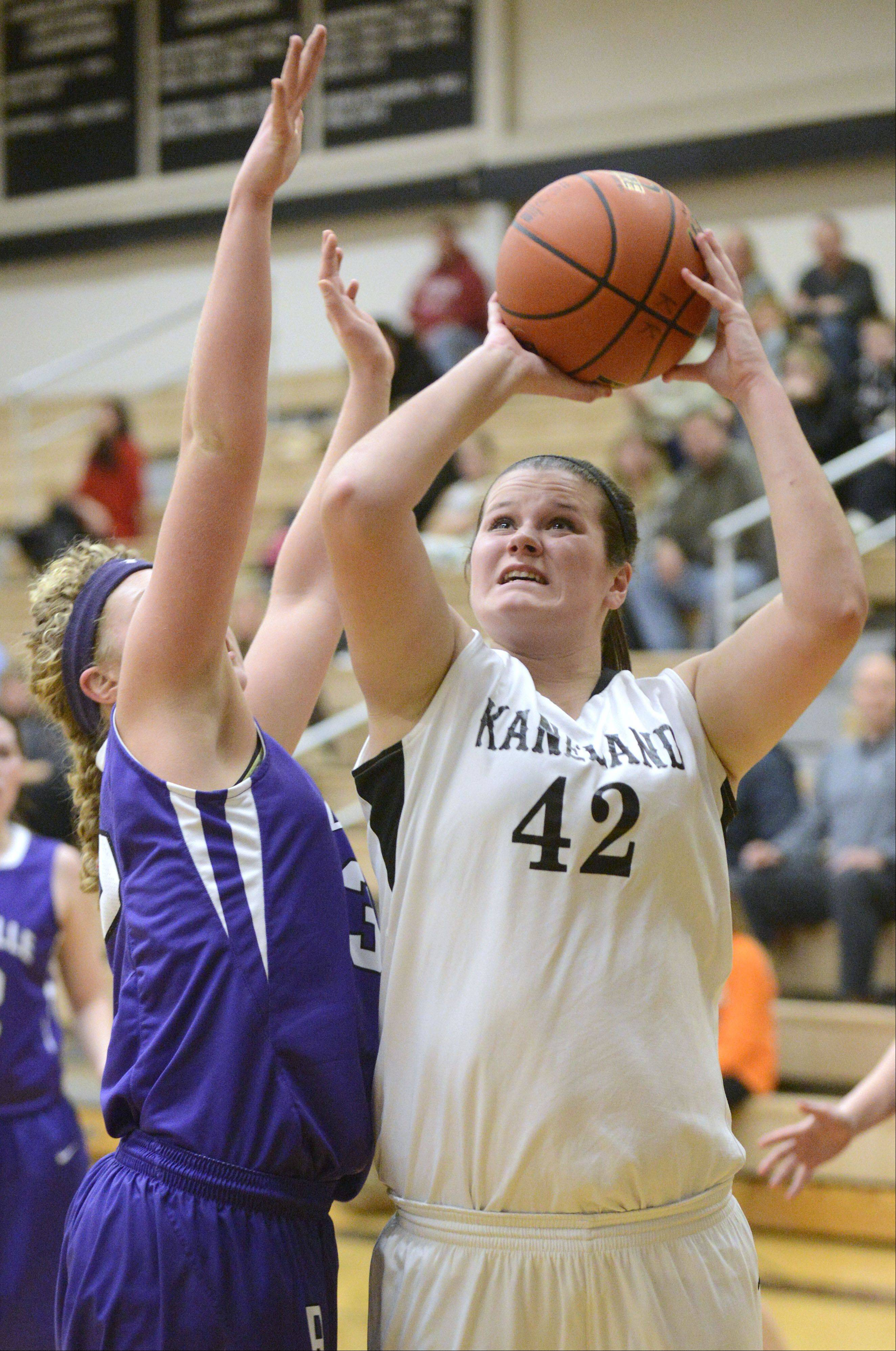 Rochelle's Kaneland's Kelly Wallner in the second quarter on Tuesday, December 10. 33 42 second