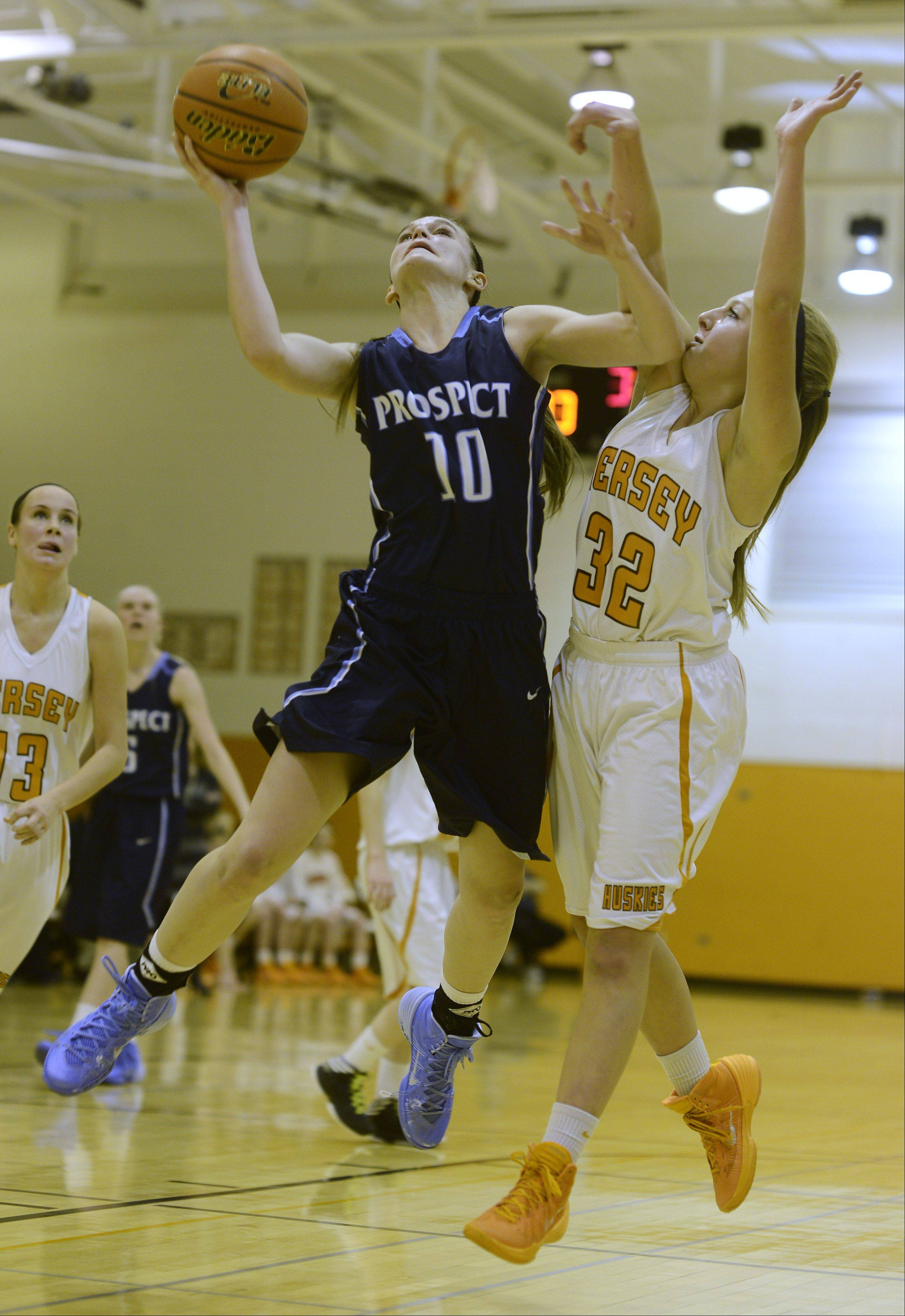Prospect's Taylor Will drives to the basket against Hersey defender Juliette Vainisi during Tuesday's game.