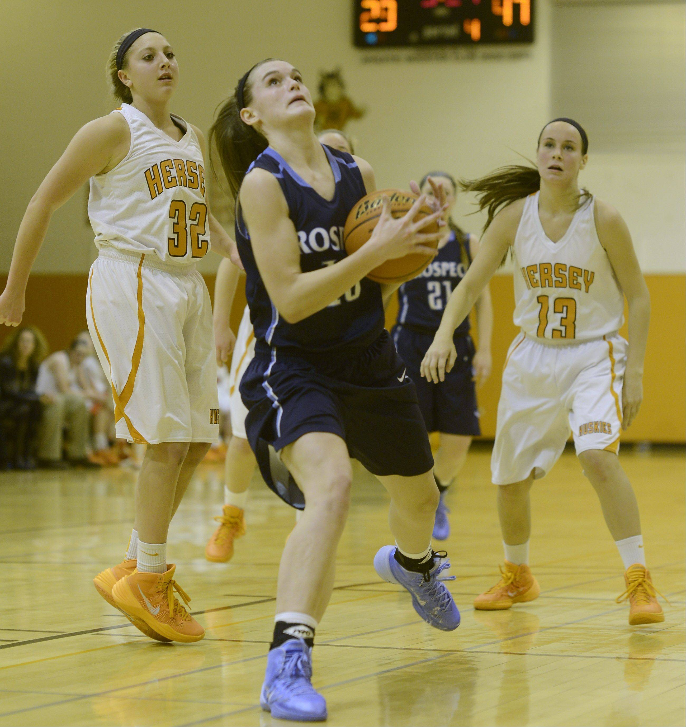 Images from the Hersey vs. Prospect girls basketball game on Tuesday, December 10, in Arlington Heights.