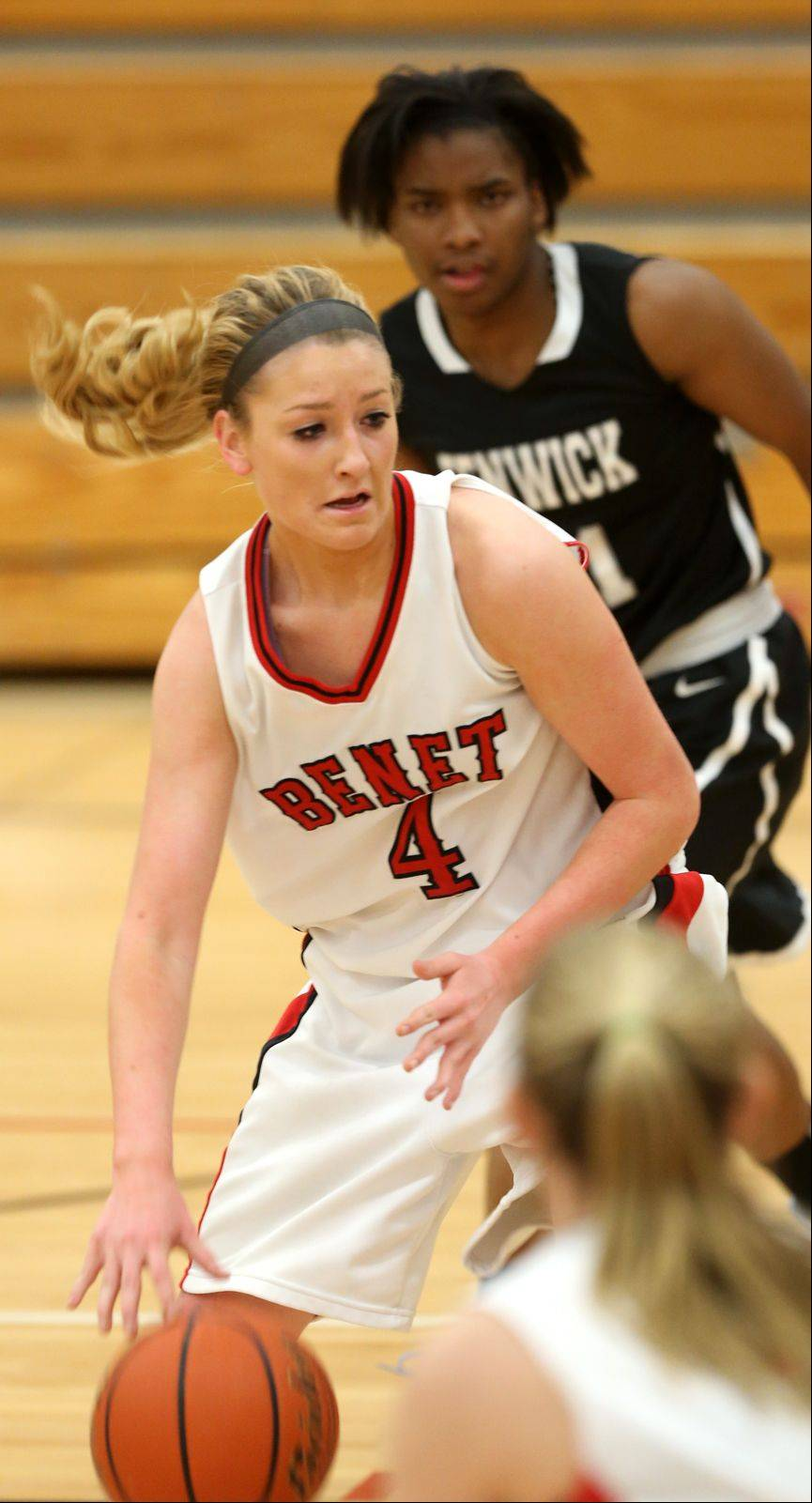 Benet's Emily Schramek moves inside against Fenwick.