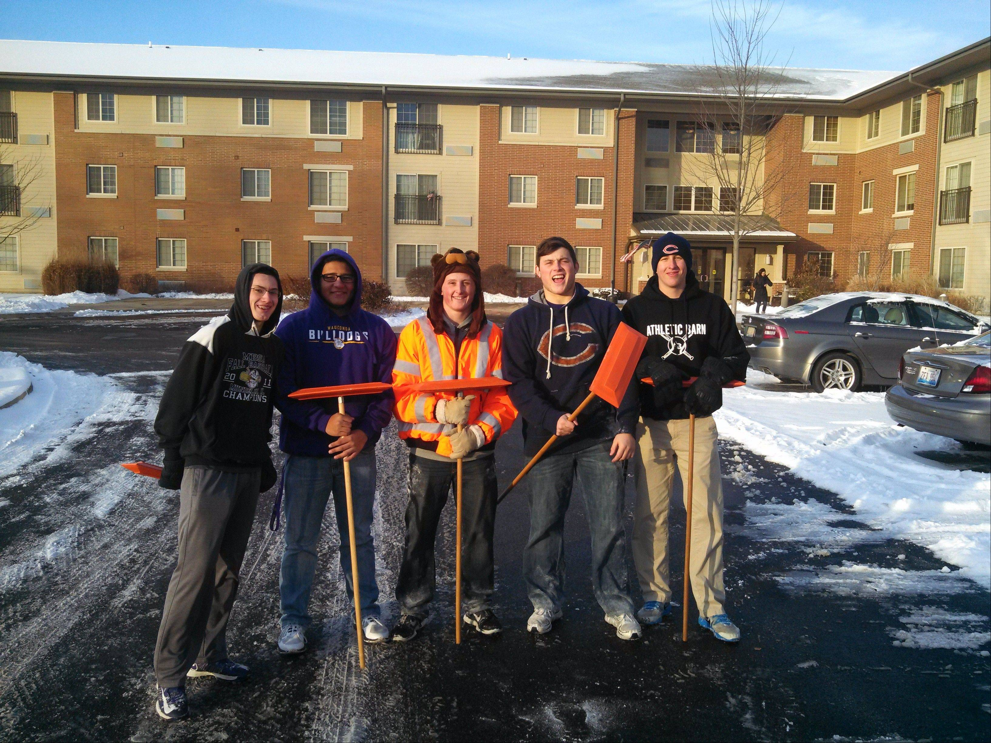 Members of Wauconda's football team have been tackling snow removal this winter.