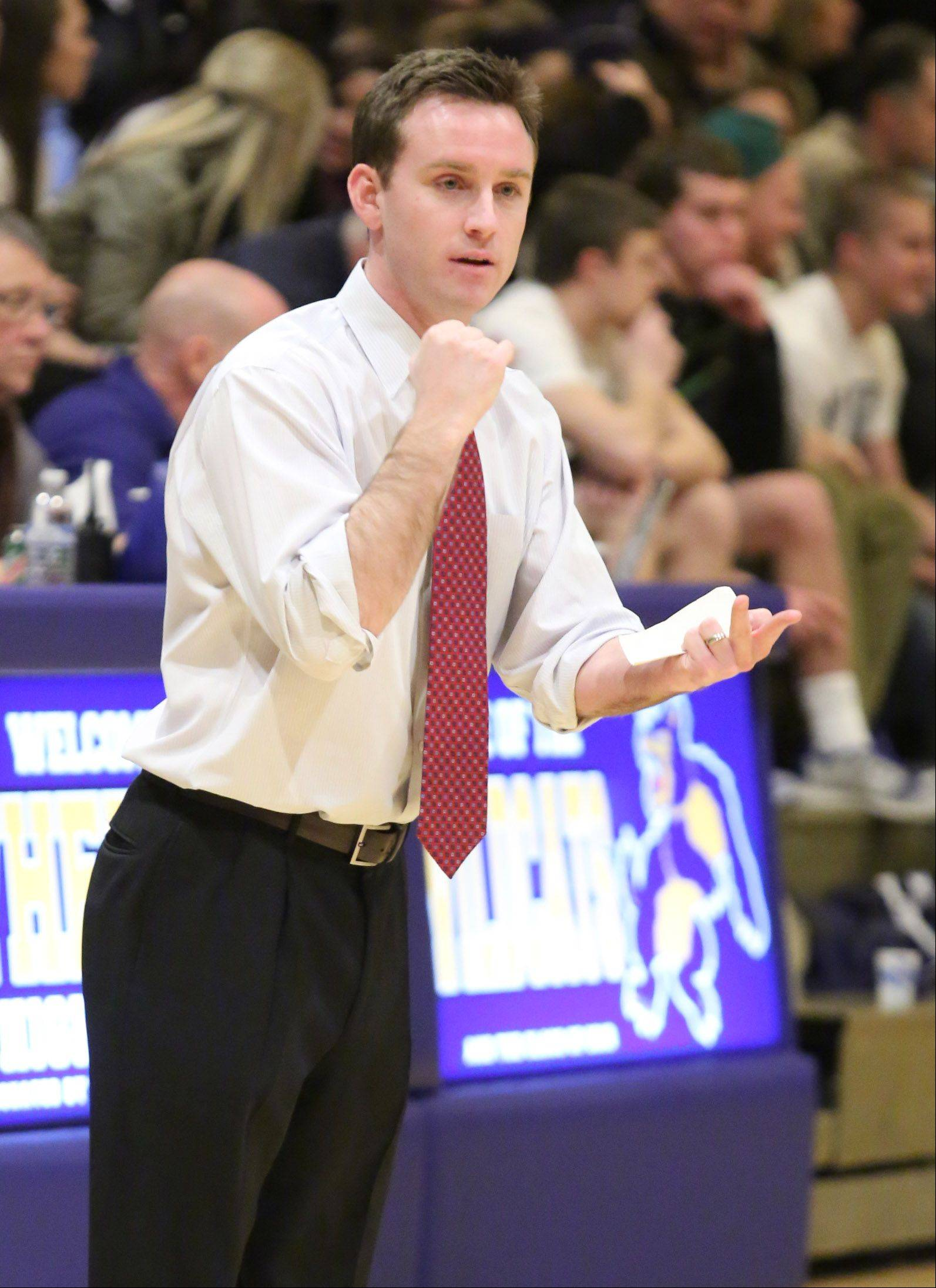 St. Viator head coach Mike Howland calls a play against Prospect at the Wheeling Hardwood Classic on Friday in Wheeling.