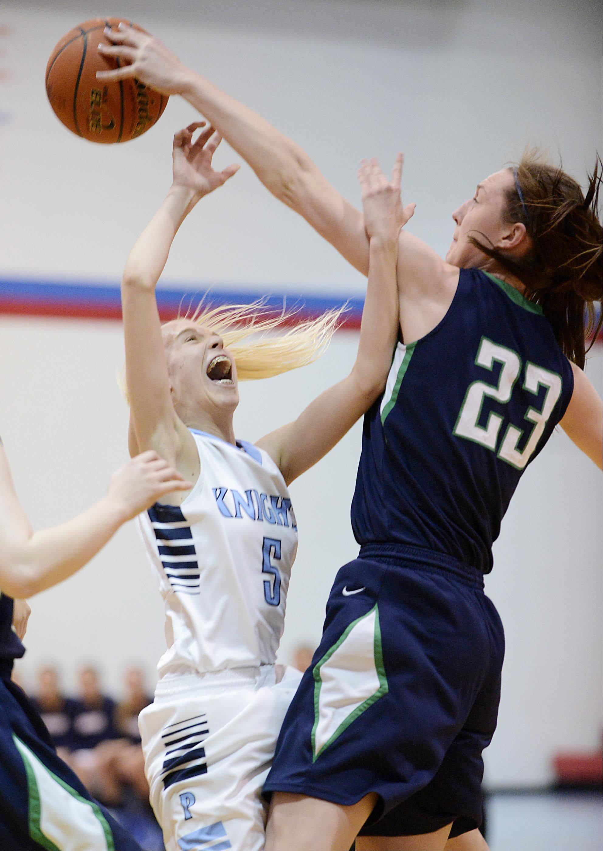Prospect's Haley Will has her shot blocked by New Trier's Jeanne Boehm.