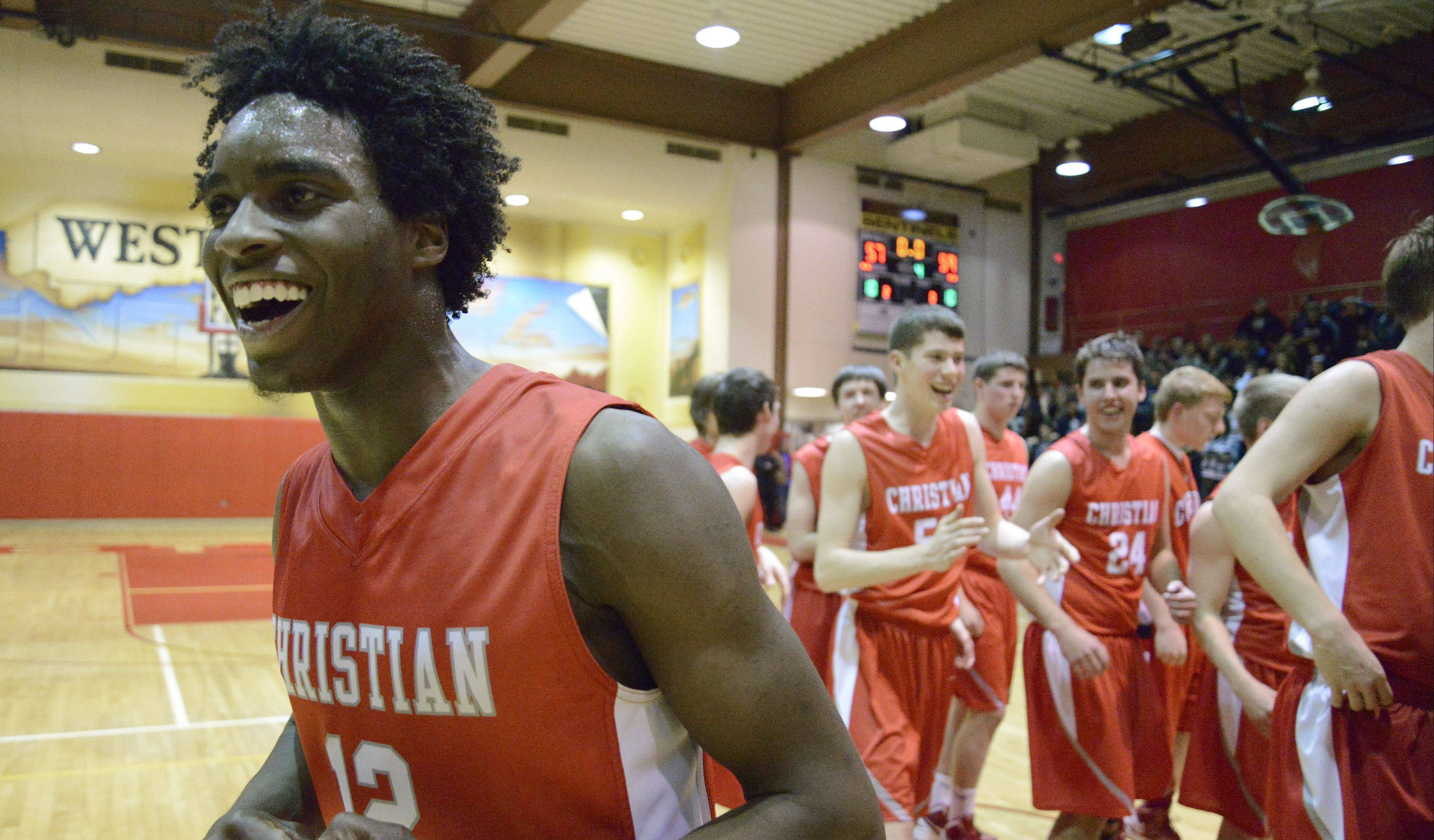 Aurora Christian's Jonathan Harrell is all smiles last year after the Eagles won a regional title.