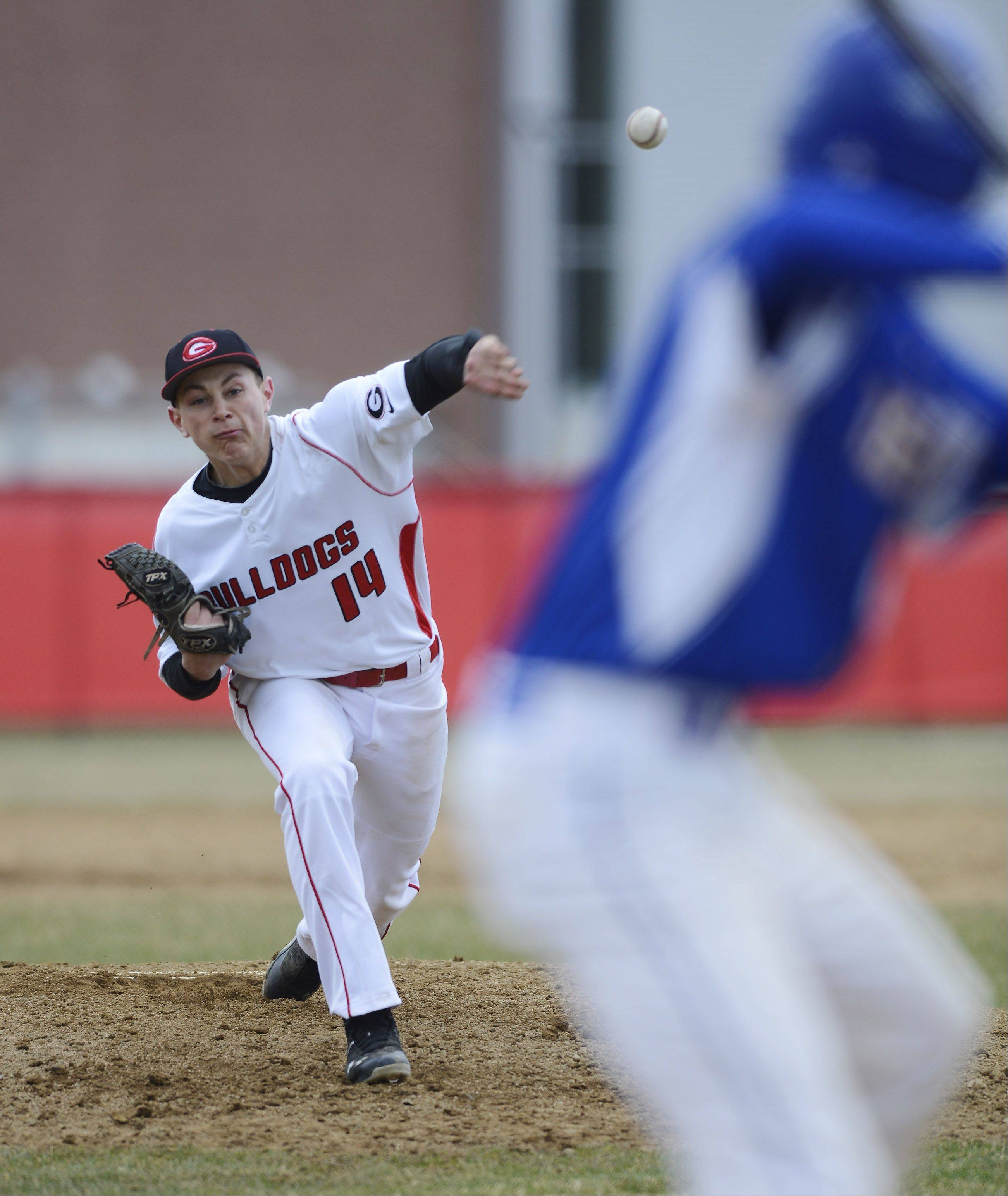 Grant's Ryan Noda delivers a pitch during action last spring.
