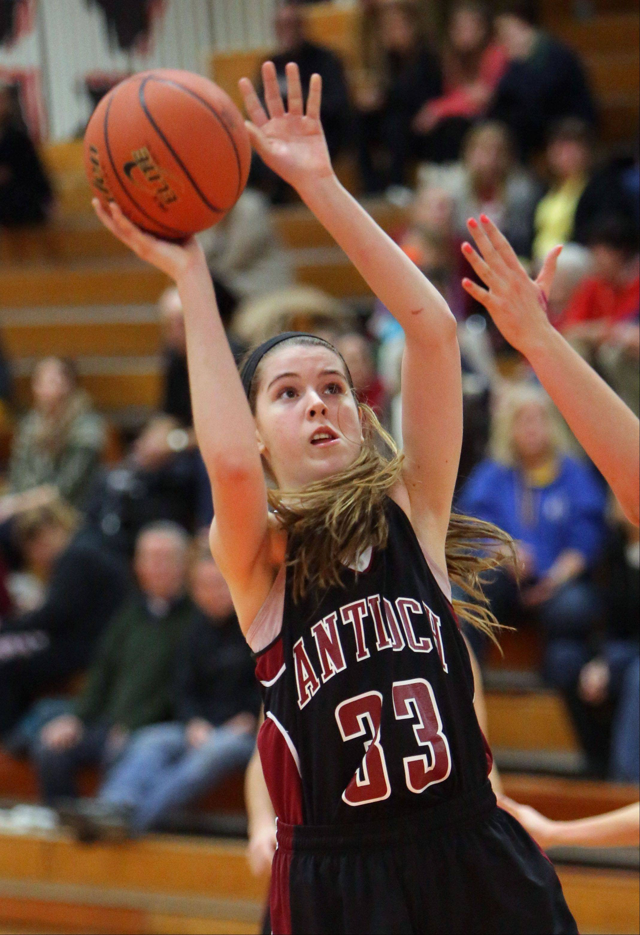 Antioch's Kelly Johnson takes a jump shot Wednesday at Libertyville.