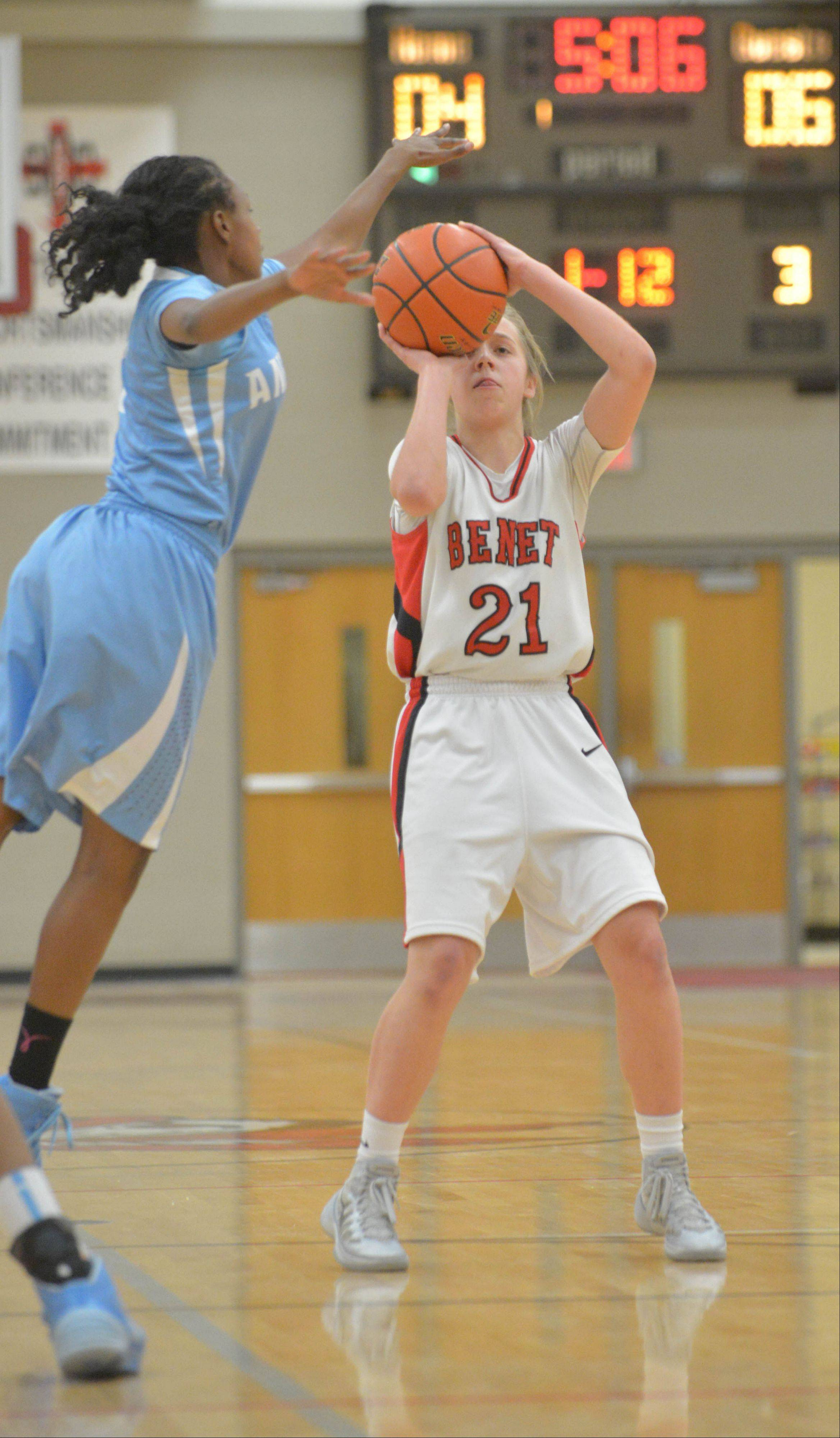 Kathleen Doyle of Benet takes a shot during the Joliet Catholic at Benet girls basketball game Wednesday.