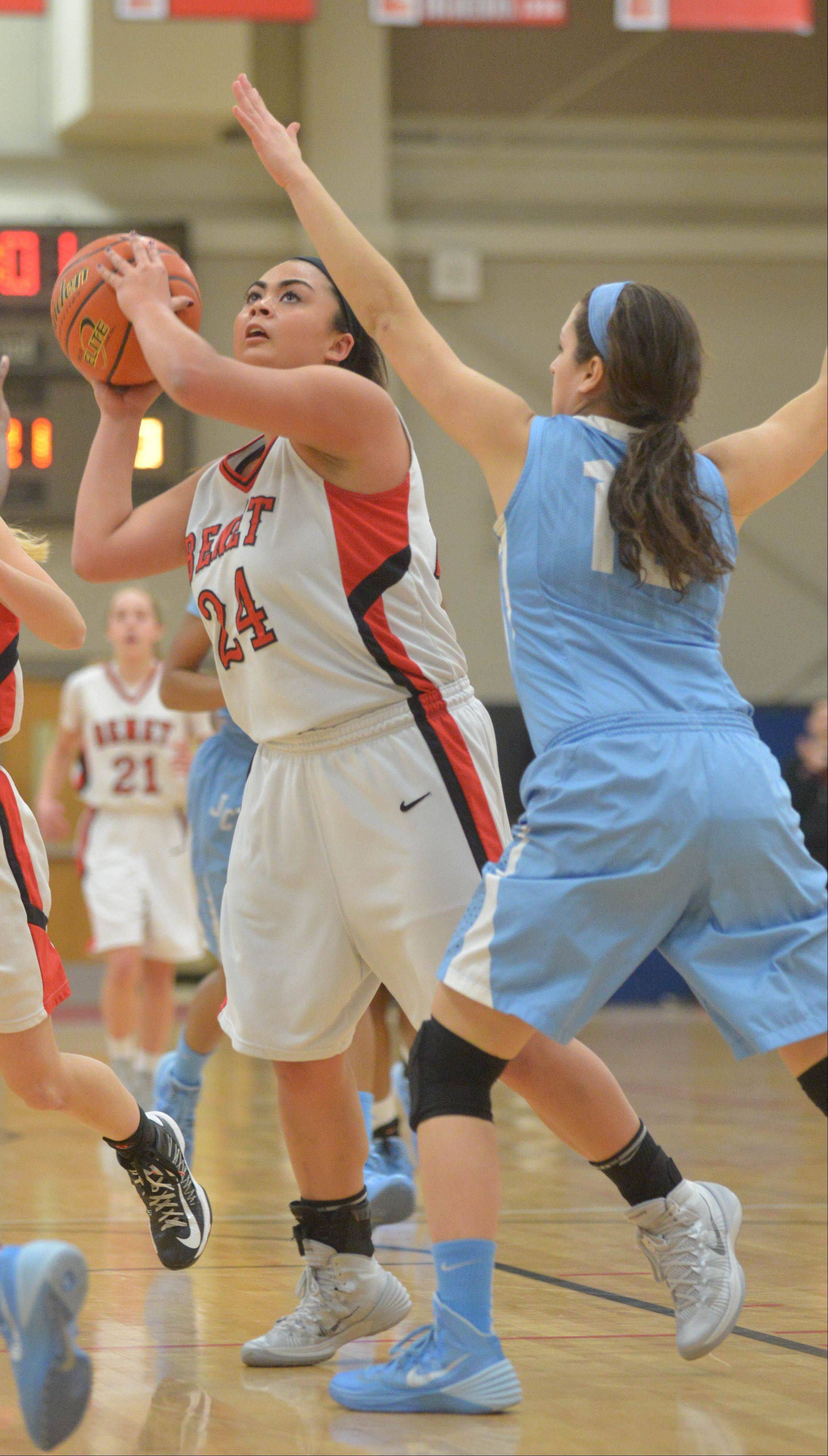 Eden Olson of Benet looks to take a shot during the Joliet Catholic at Benet girls basketball game Wedsday.