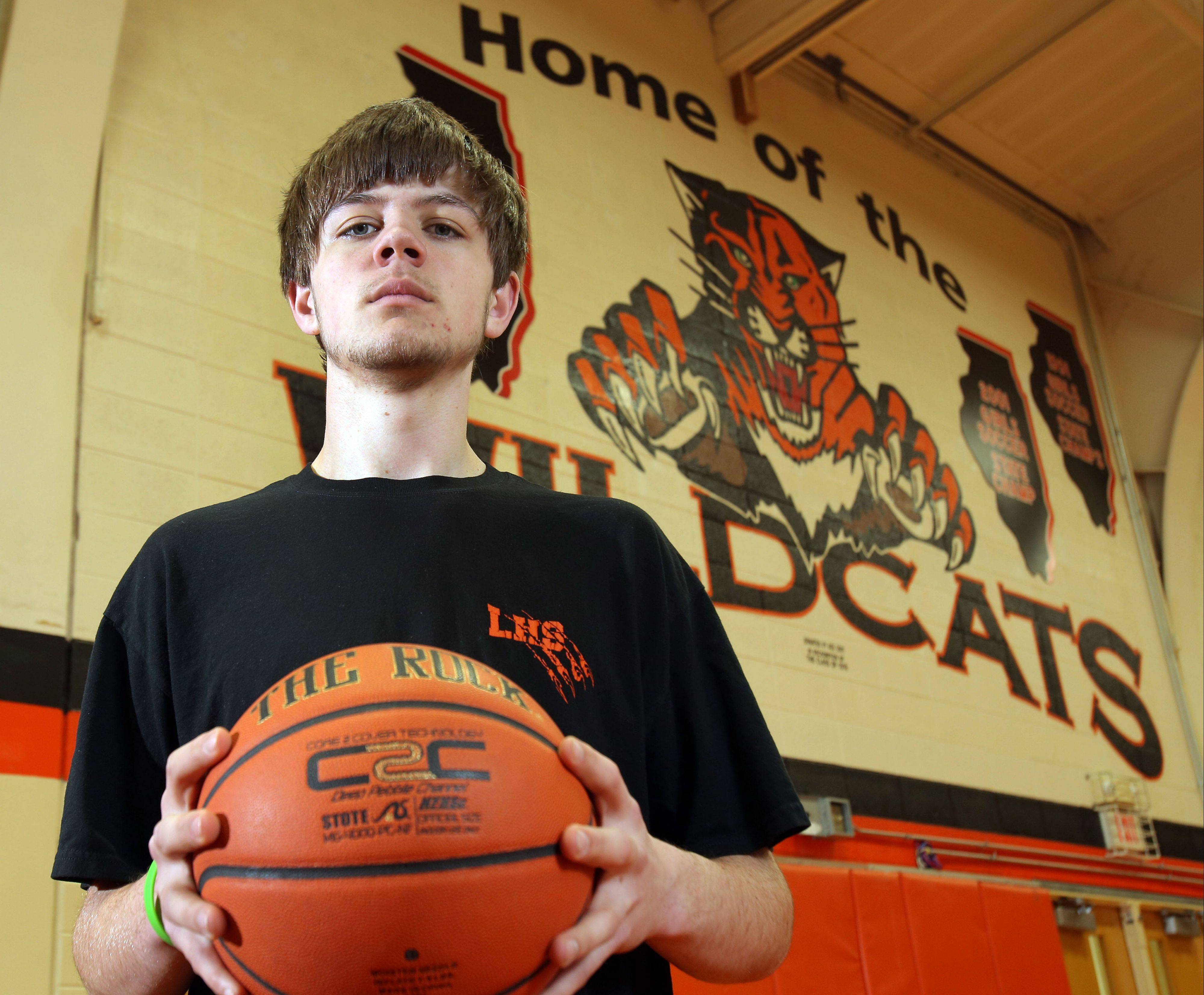 Joe Borcia of Libertyville is developing into an very impressive player as one of the better big men in the North Suburban Conference. Sports became a refuge of sorts for Borcia as he coped with the tragic loss of his younger brother Tony, who was killed in a boating accident in the Chain of Lakes two summers ago.
