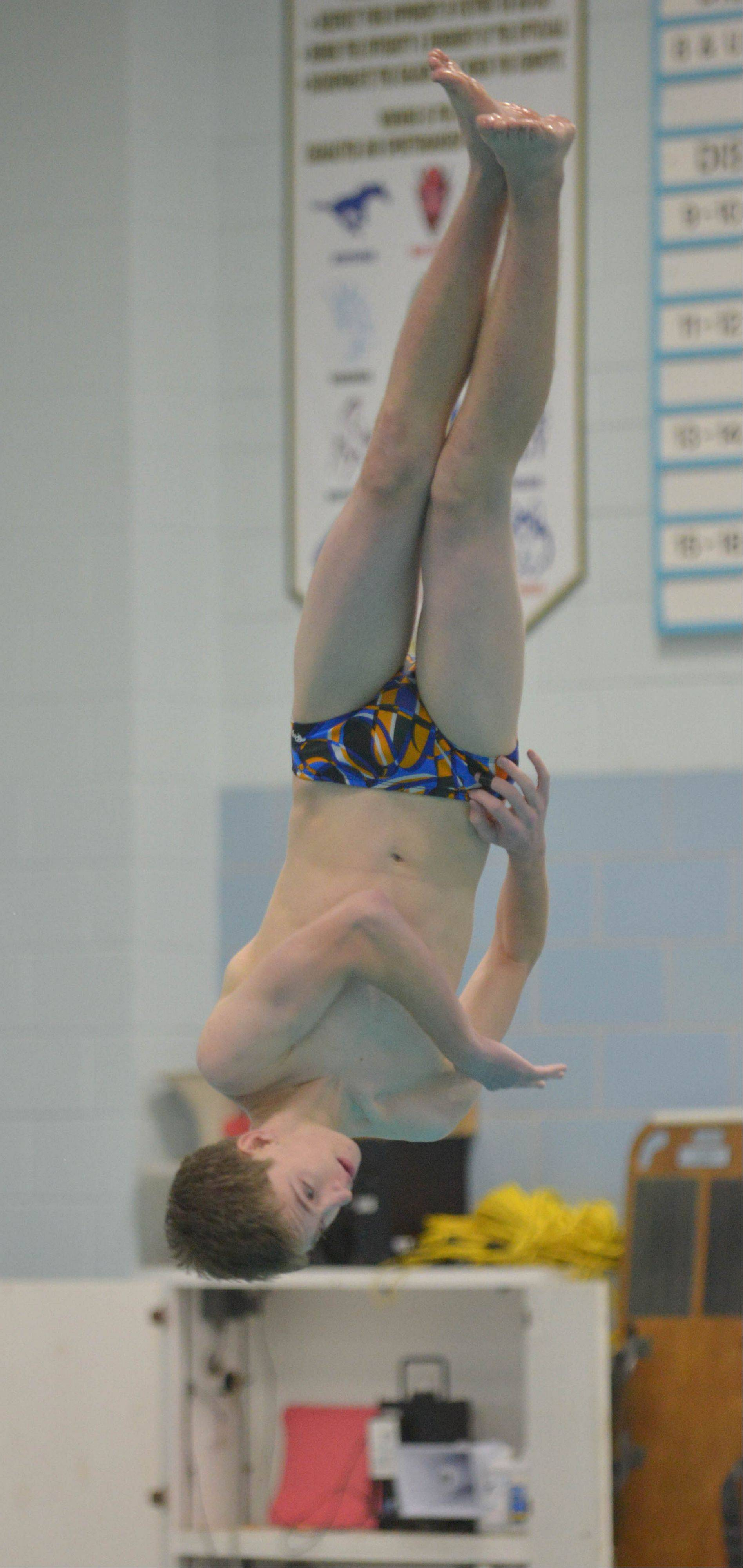 Paul Michna/pmichna@dailyherald.com Lucas Cooperman of Wheaton took part in the diving competition at the Hinsdale South College Events boys swimming meet Saturday.