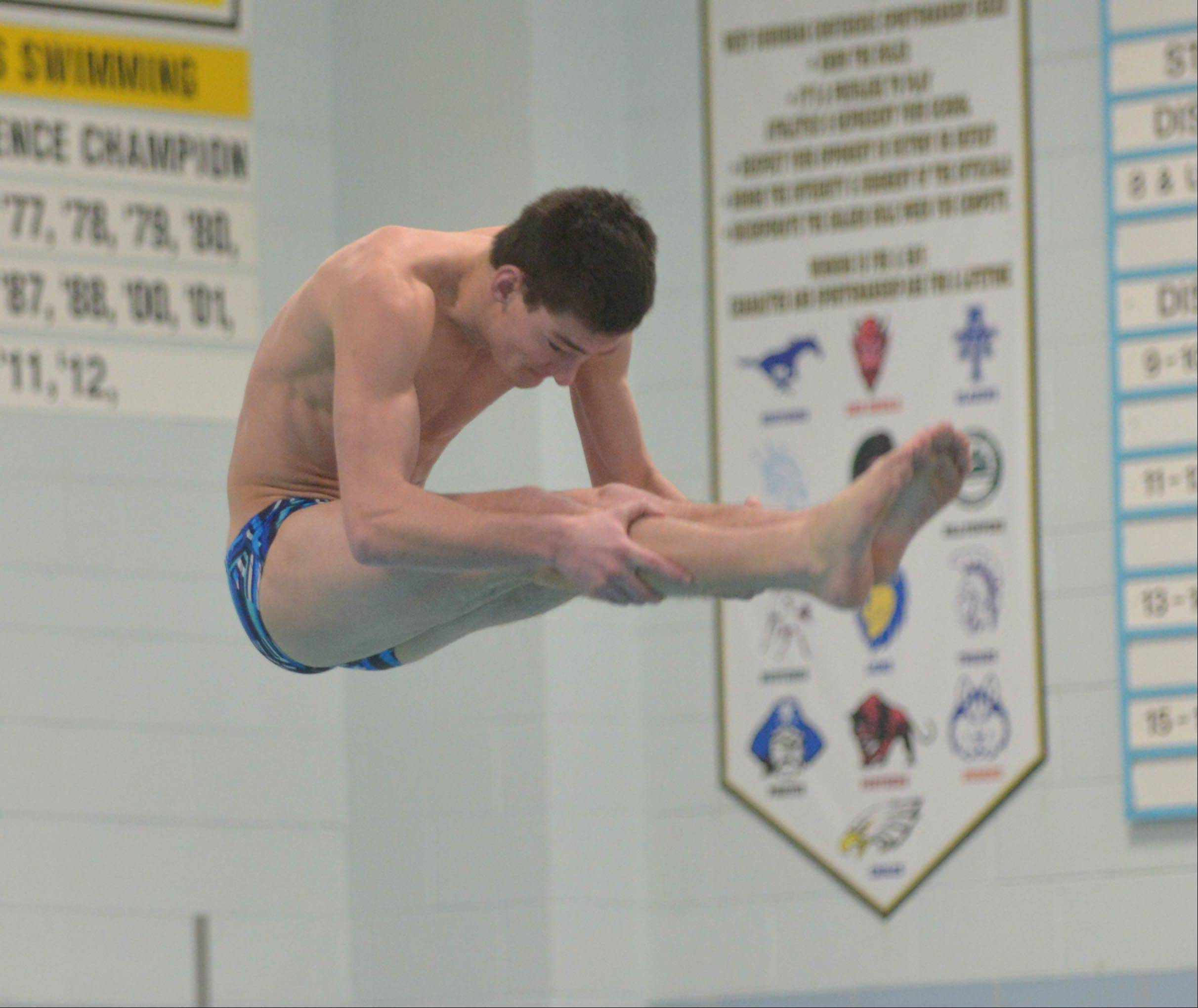 Paul Michna/pmichna@dailyherald.comJack Riely of Lake Park took part in the diving competition at the Hinsdale South College Events boys swimming meet Saturday.