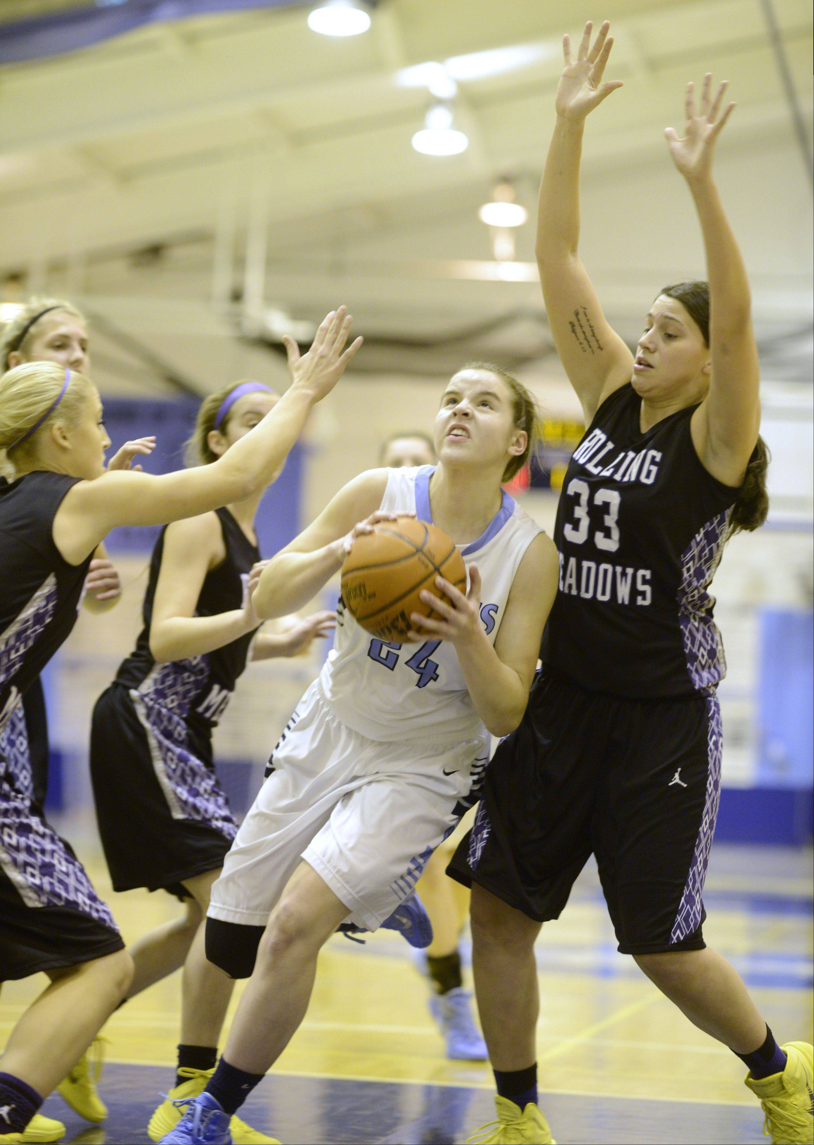 Photos from the Rolling Meadows vs. Prospect girls basketball game on Saturday, January 11th, in Mount Prospect.