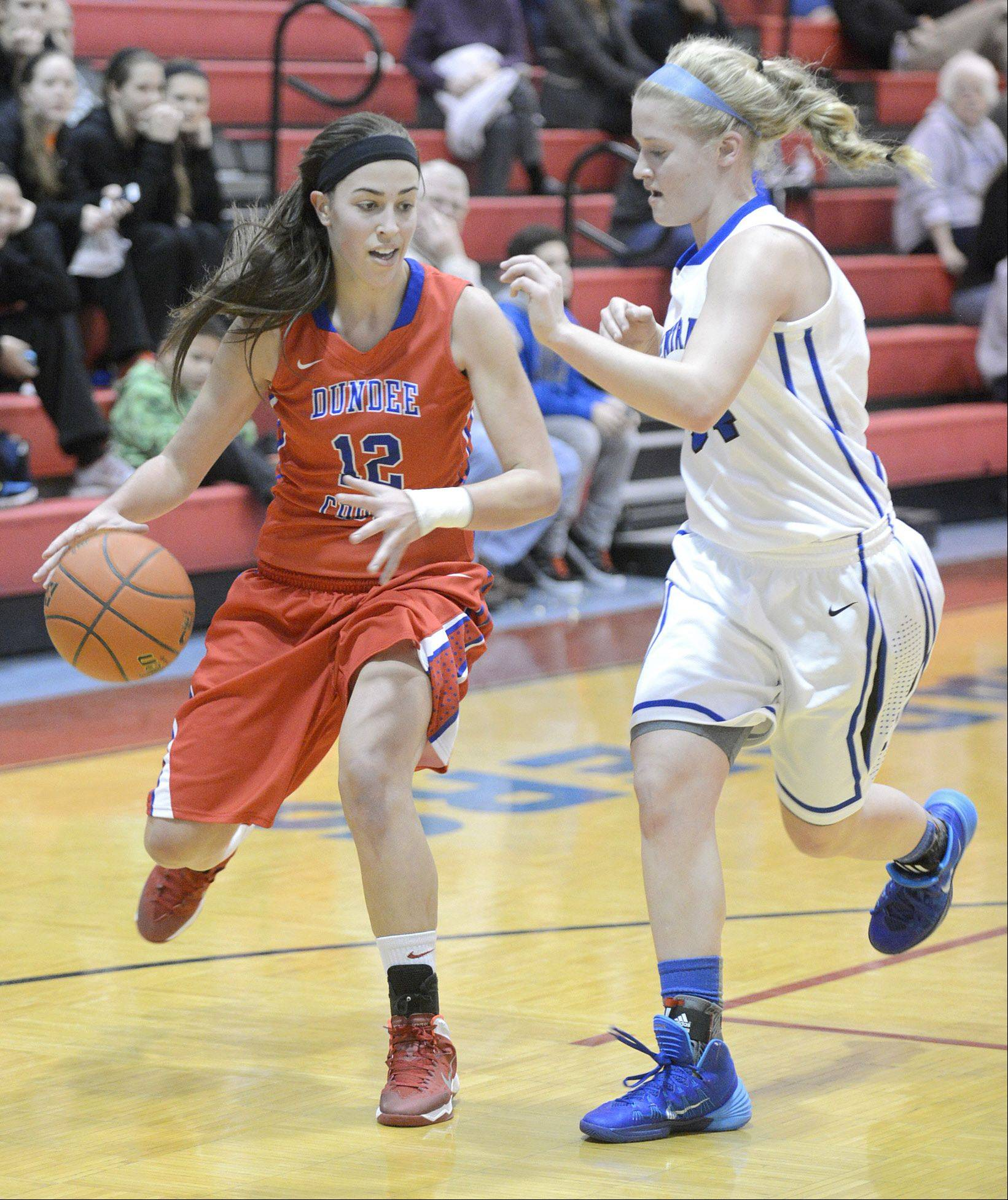 Dundee-Crown's Lauren Lococo (12) looks to find a way around Burlington Central's Sam Pryor during the Charger Classic at D-C.