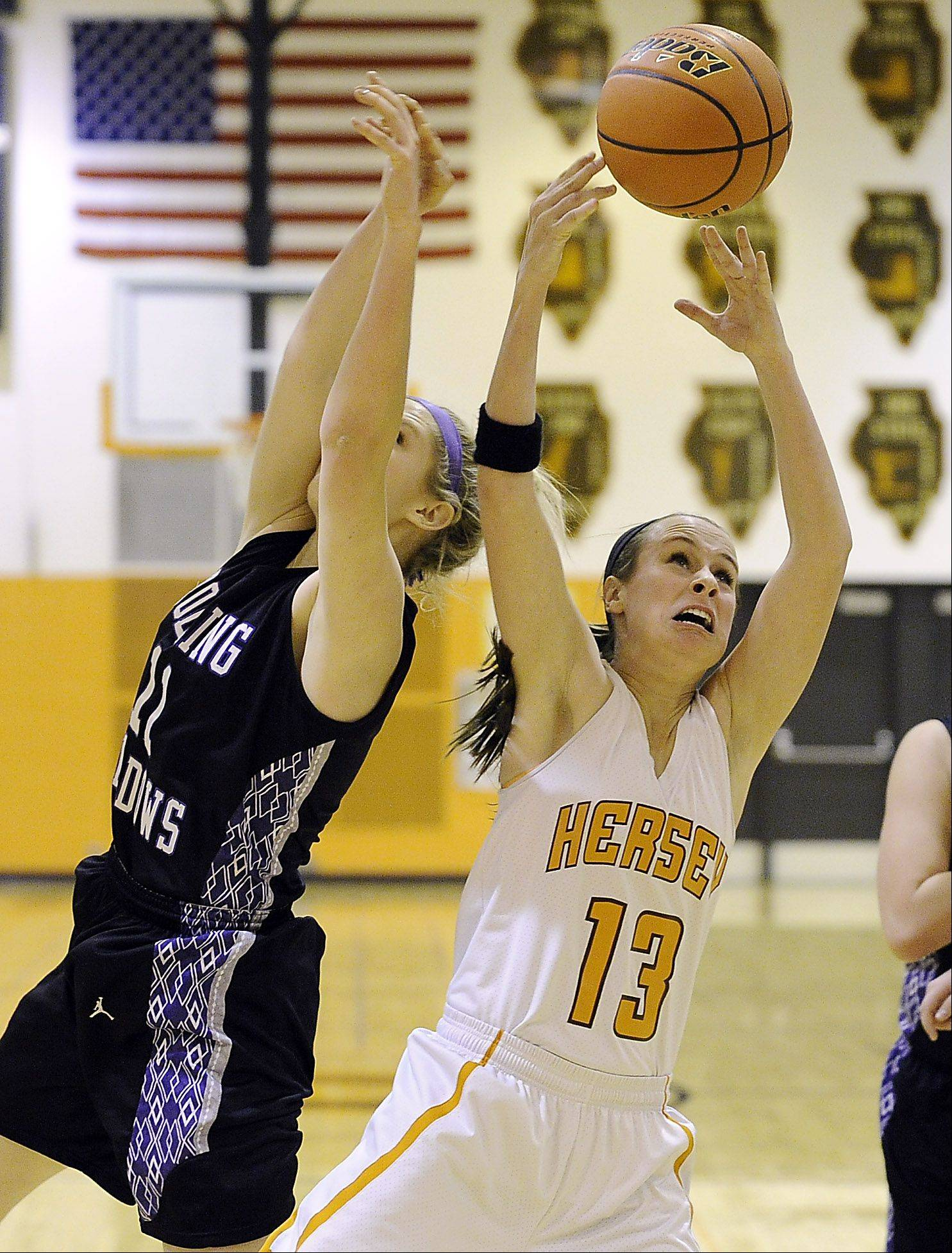 Rolling Meadows' Jenny Vliet tips the ball away from Hersey's Annie Korff in girls basketball at Hersey.