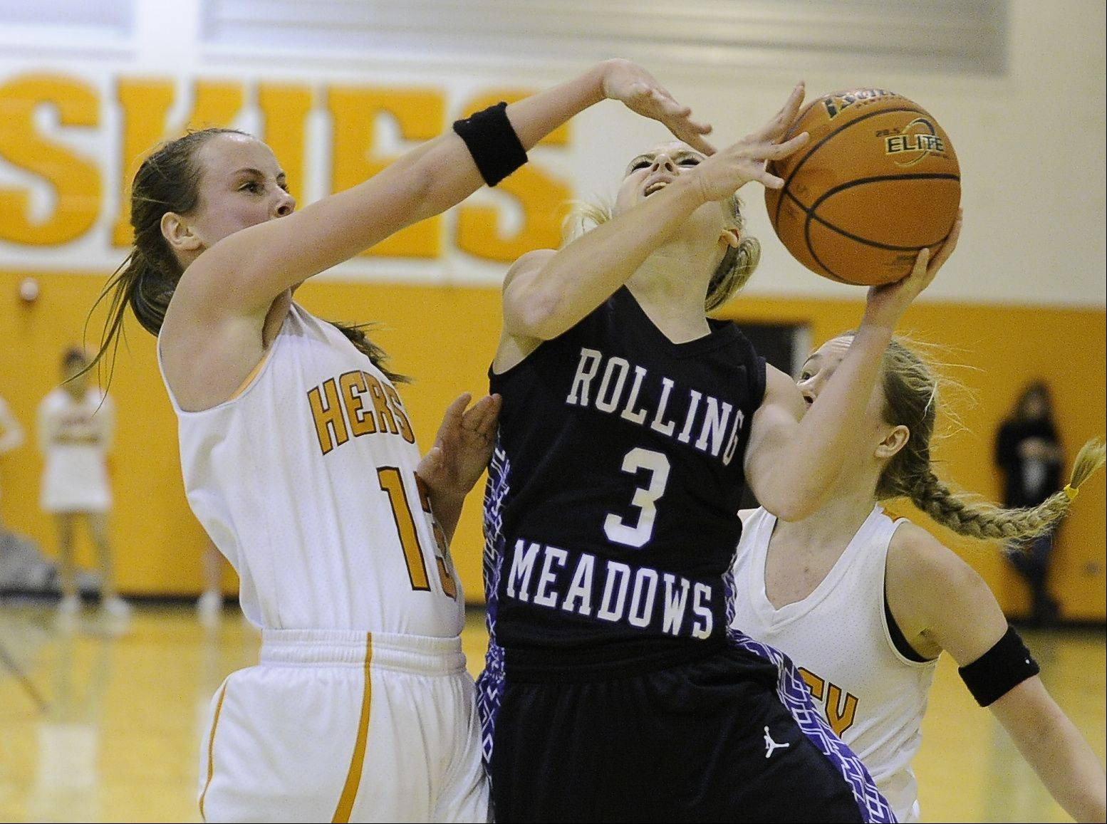 Images from Rolling Meadows vs Hersey girls basketball on Friday, January 17th.