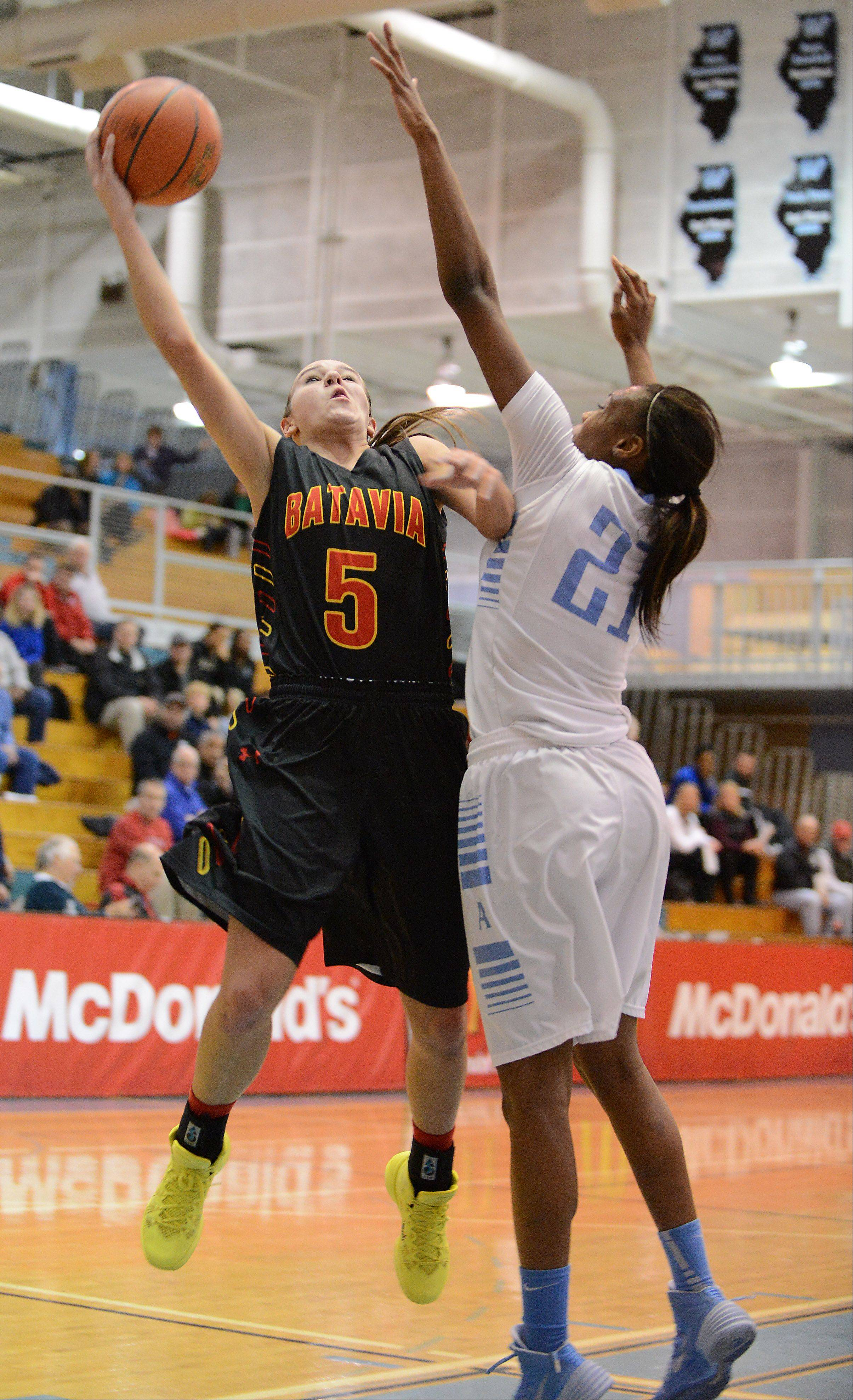 Batavia's Liza Fruendt puts up a shot over Joliet Catholic's Jasmine Lumpkin during Monday's game at the 24th annual McDonald's Shootout at Willowbrook High School in Villa Park.