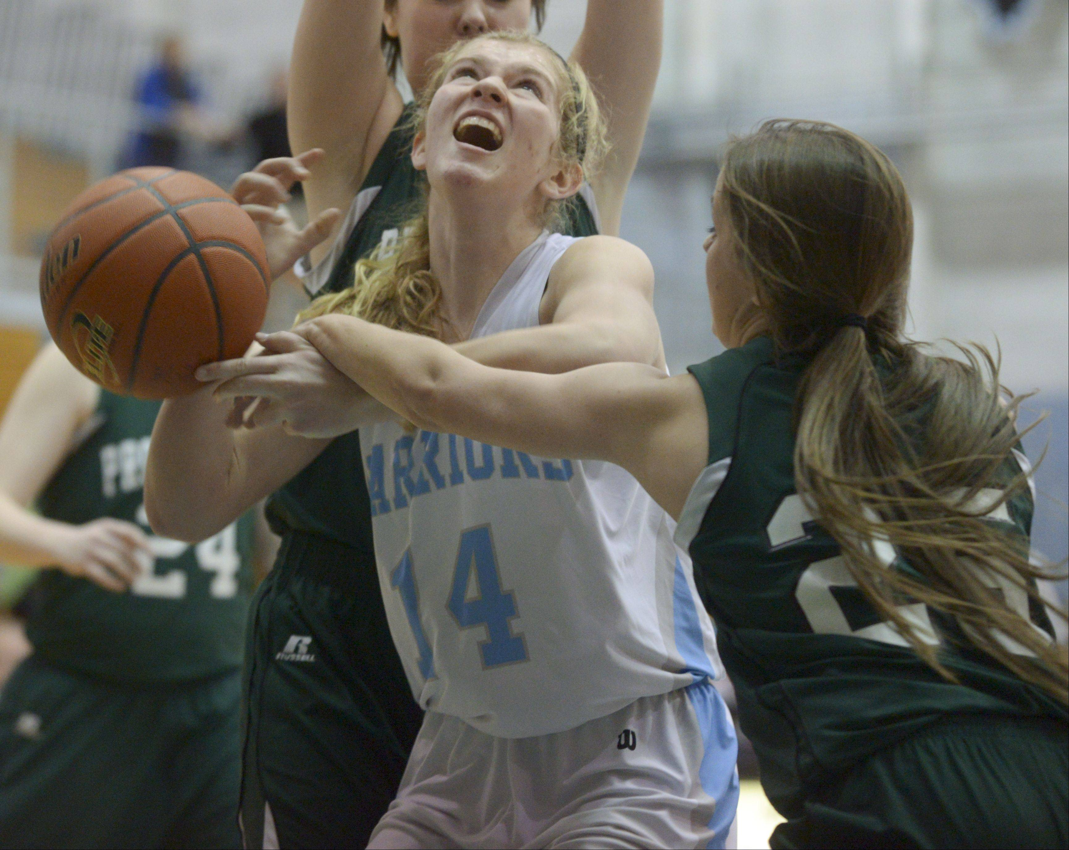 Willowbrook's Lauren Carroll has her shot blocked by Providence's Anne Corso during the McDonald's girls basketball shootout at Willowbrook High School.
