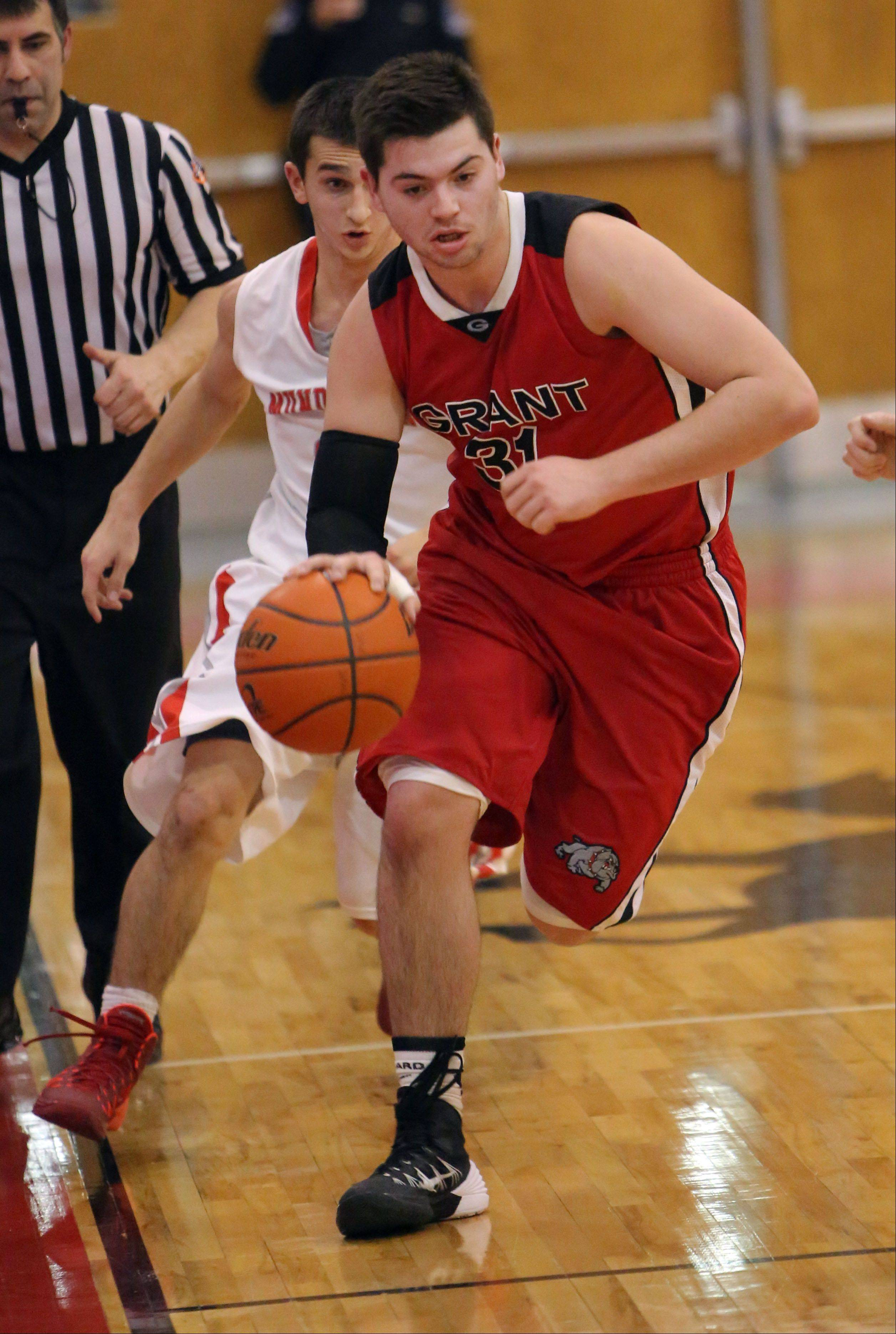 Grant's Luke Lostroscio dribbles down court past Mundelein's Nick Filippo on Tuesday at Mundelein.