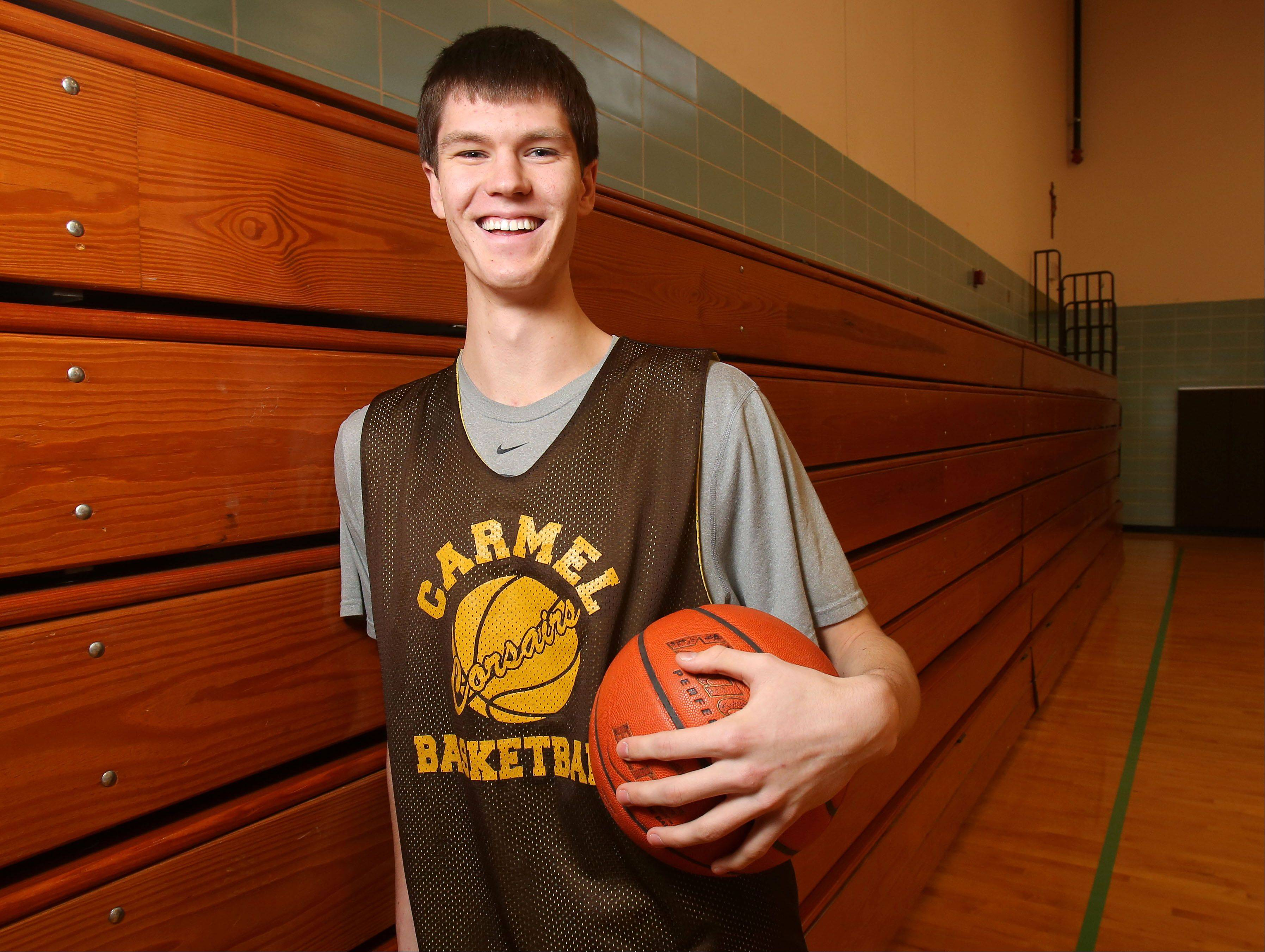 Carmel's 6-foot-10 center Jack George has helped Carmel to a 17-3 record and one of its best seasons in years.