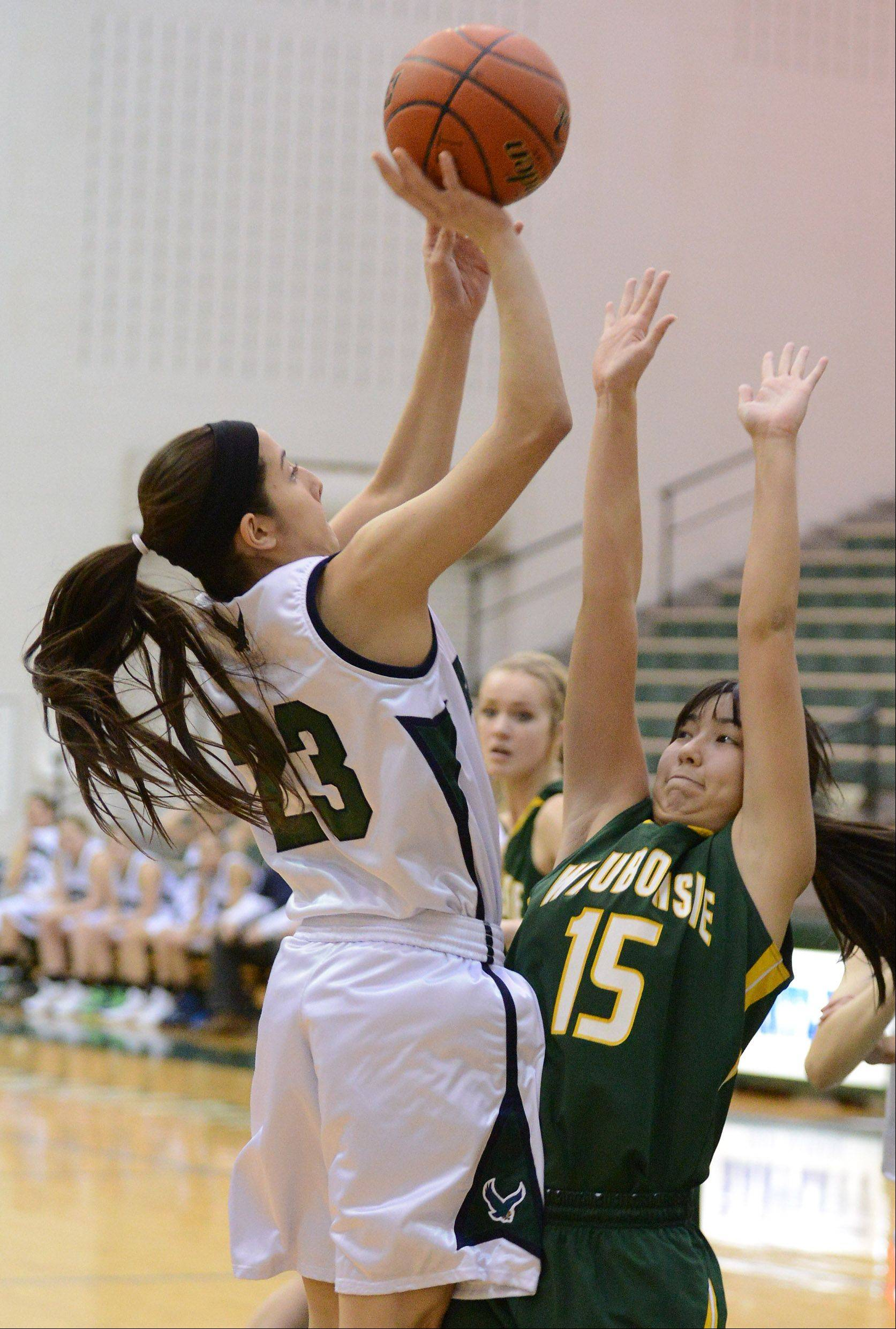 Bartlett's Ally Giampapa (23) shoots over Waubonsie Valley's Rachael Pedersen (15) during Thursday's game in Bartlett.