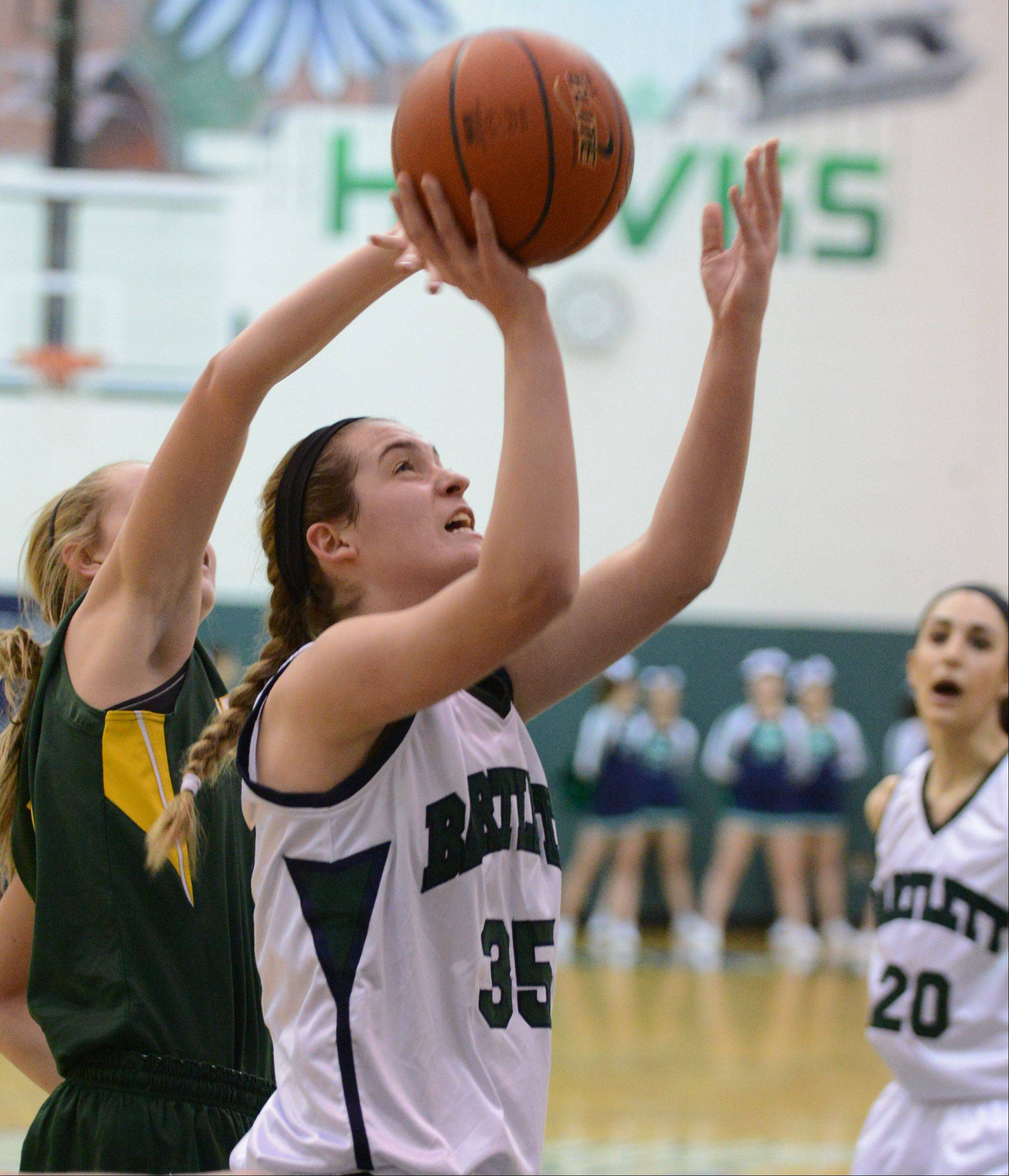Bartlett's Kelly Harris (35) puts up a shot during Thursday's game against Waubonsie Valley in Bartlett.