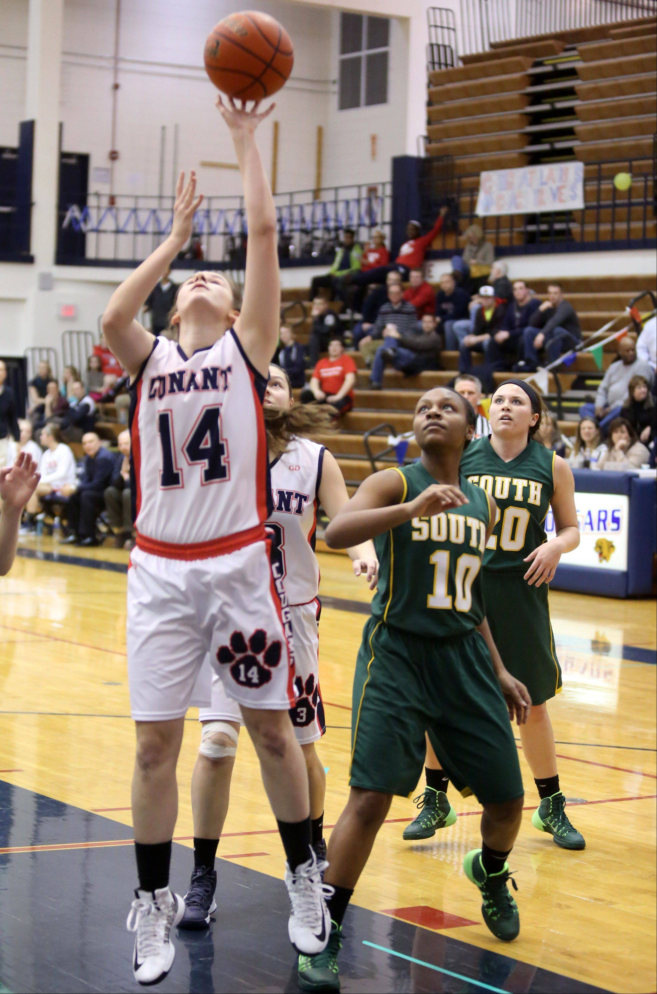 Conant's Sarah Mazurek shoots against Crystal Lake South at Conant on Saturday.