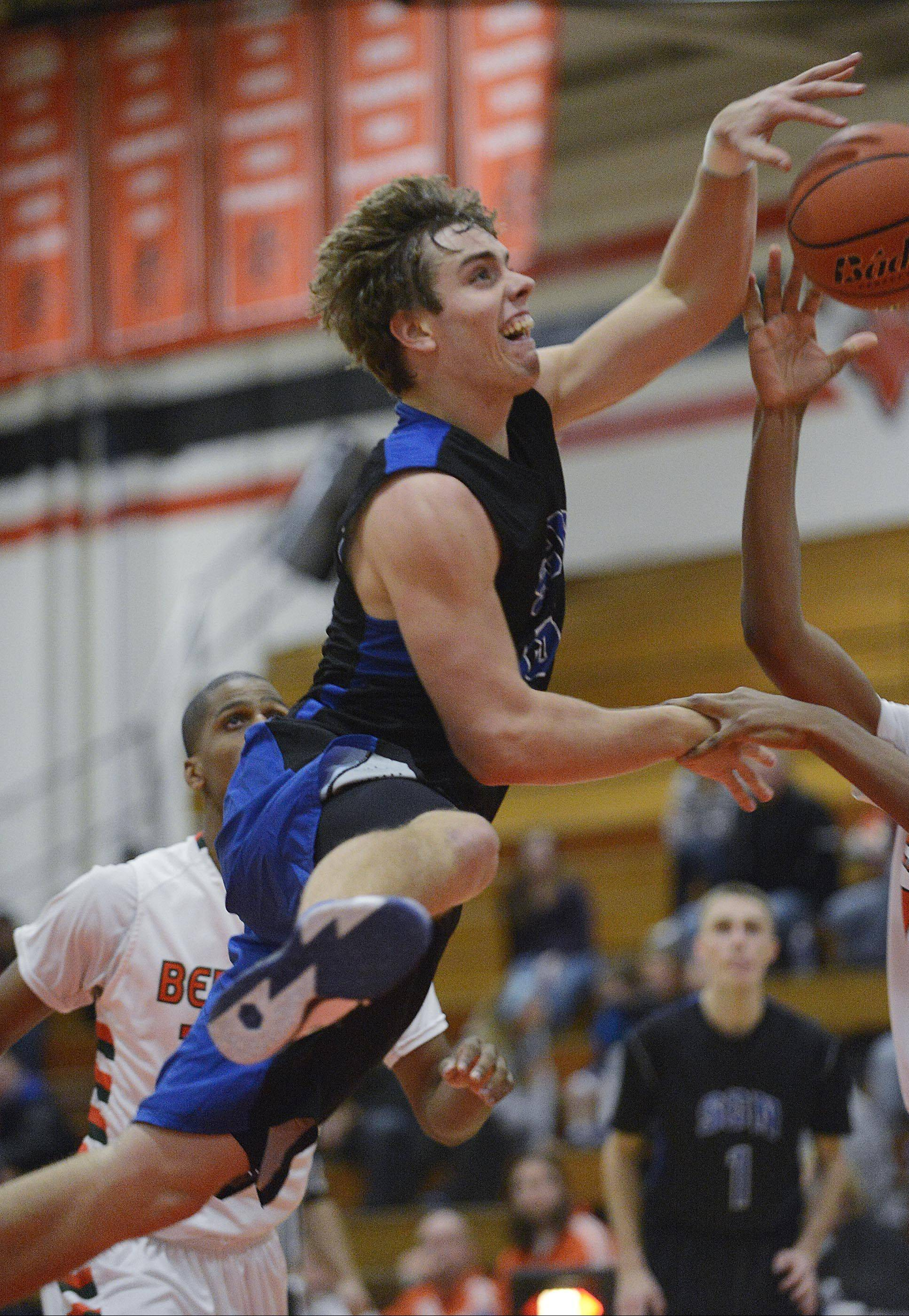 St. Charles North's Erik Miller, pictured in the season-opener against Plainfield East, said practices have been more intense since giving up 90 points to St. Charles East in their last game.