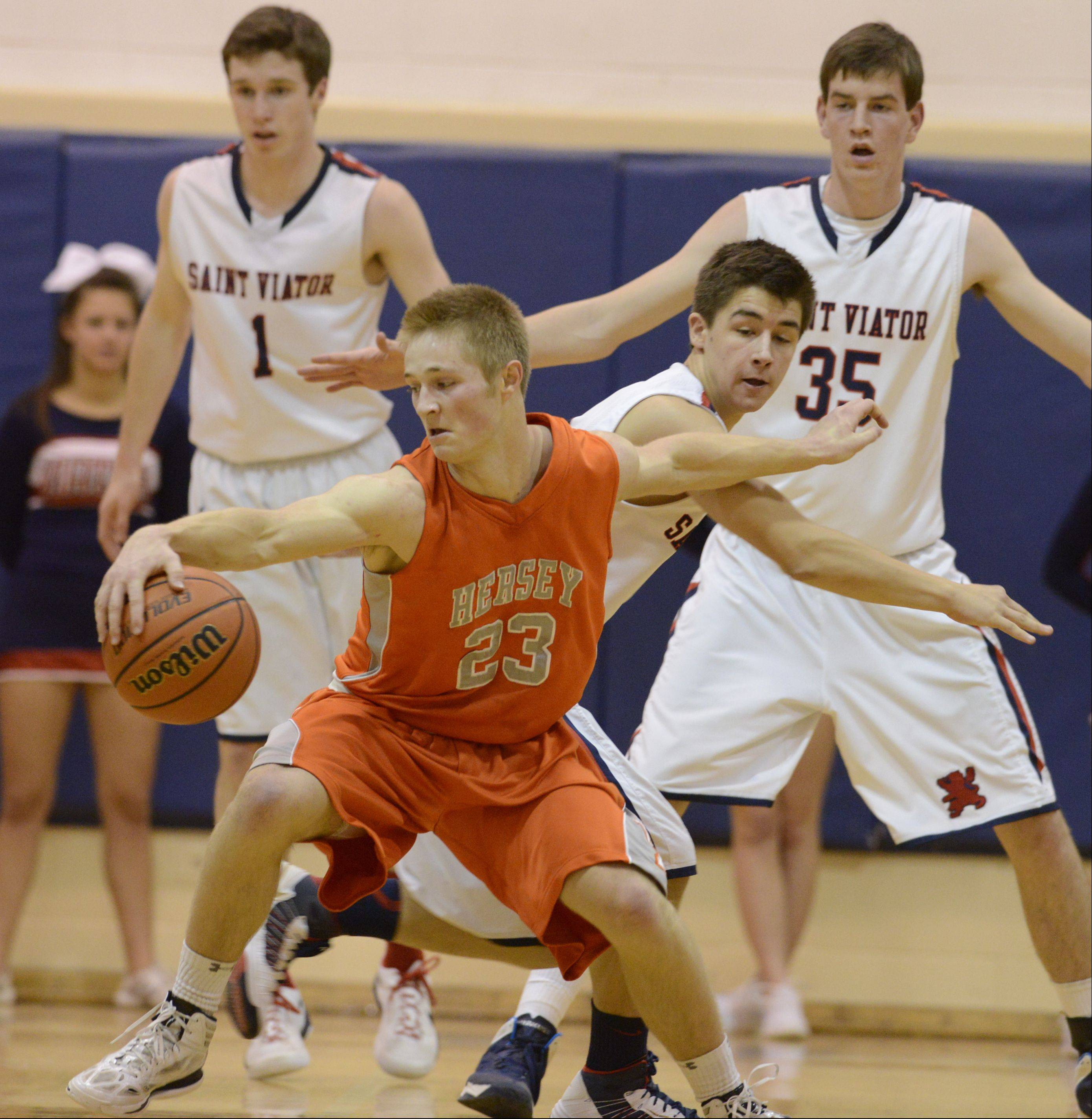 Photos from the St. Viator vs. Hersey boys basketball game on Wednesday, January 29, in Arlington Heights