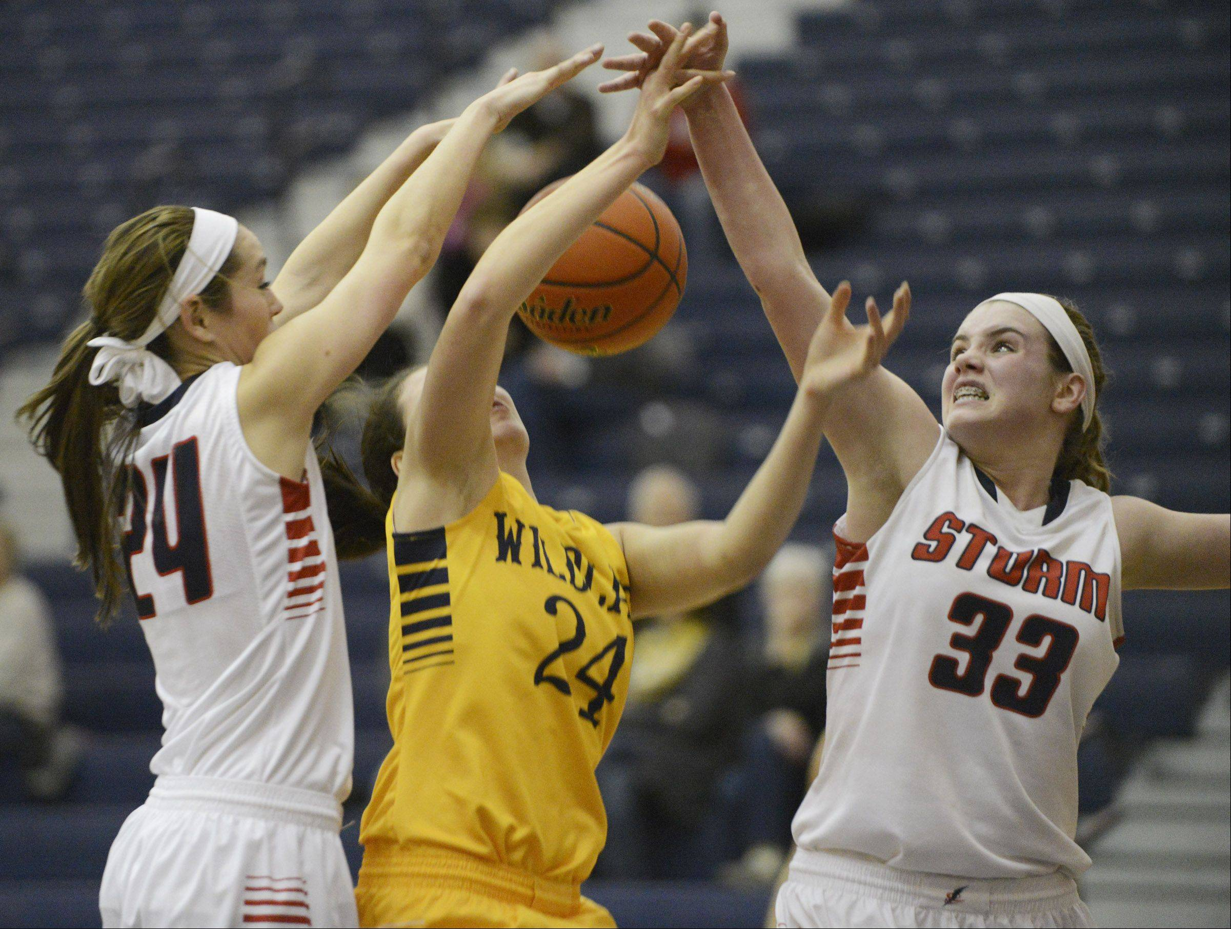 South Elgin's Kennede Miller and Mackie Kelleher, right, block Neuqua Valley's Bryce Menendez.