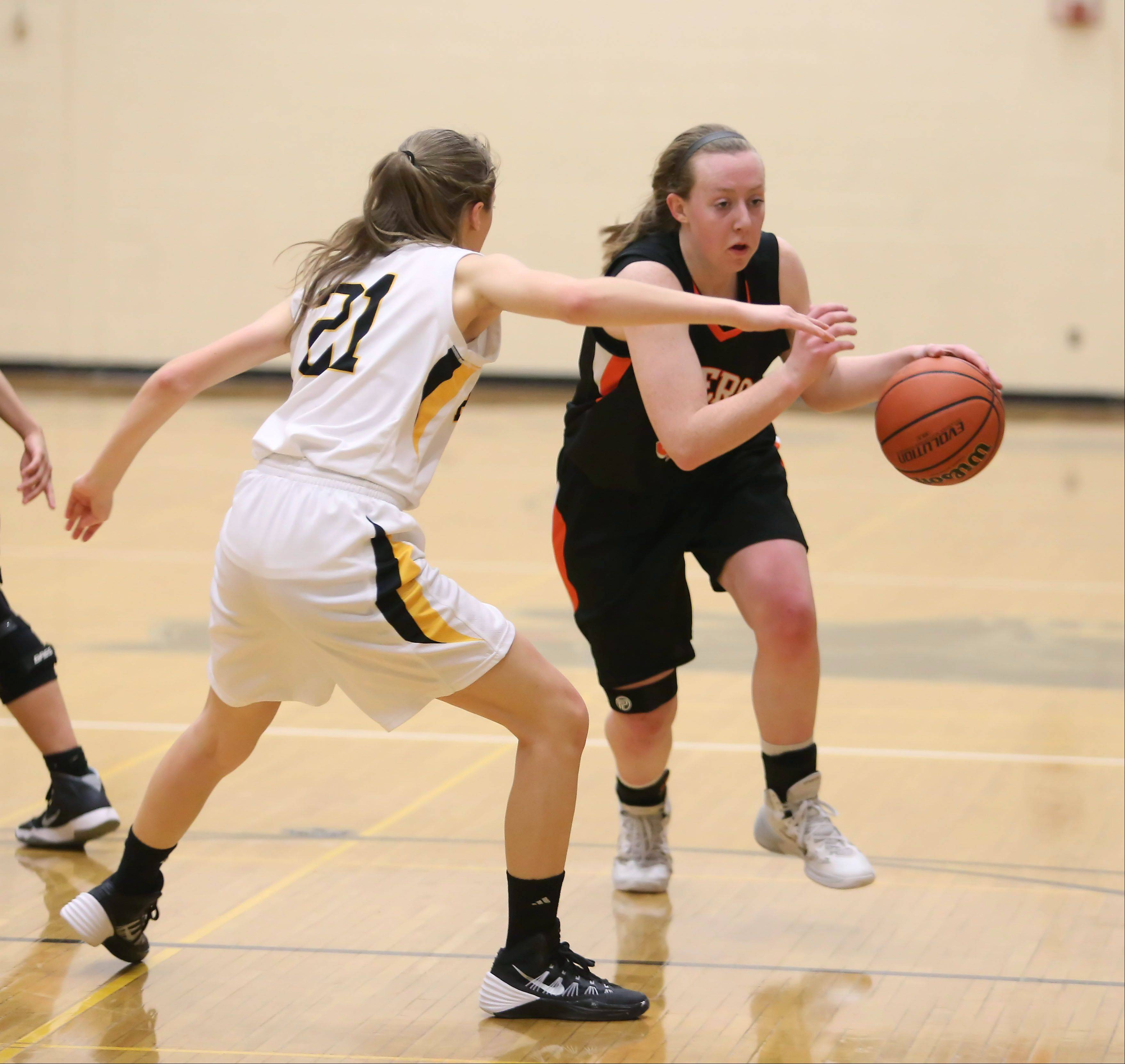 Glenbard North Wheaton Warrenville South in girls basketball action on Monday in Carol Stream.