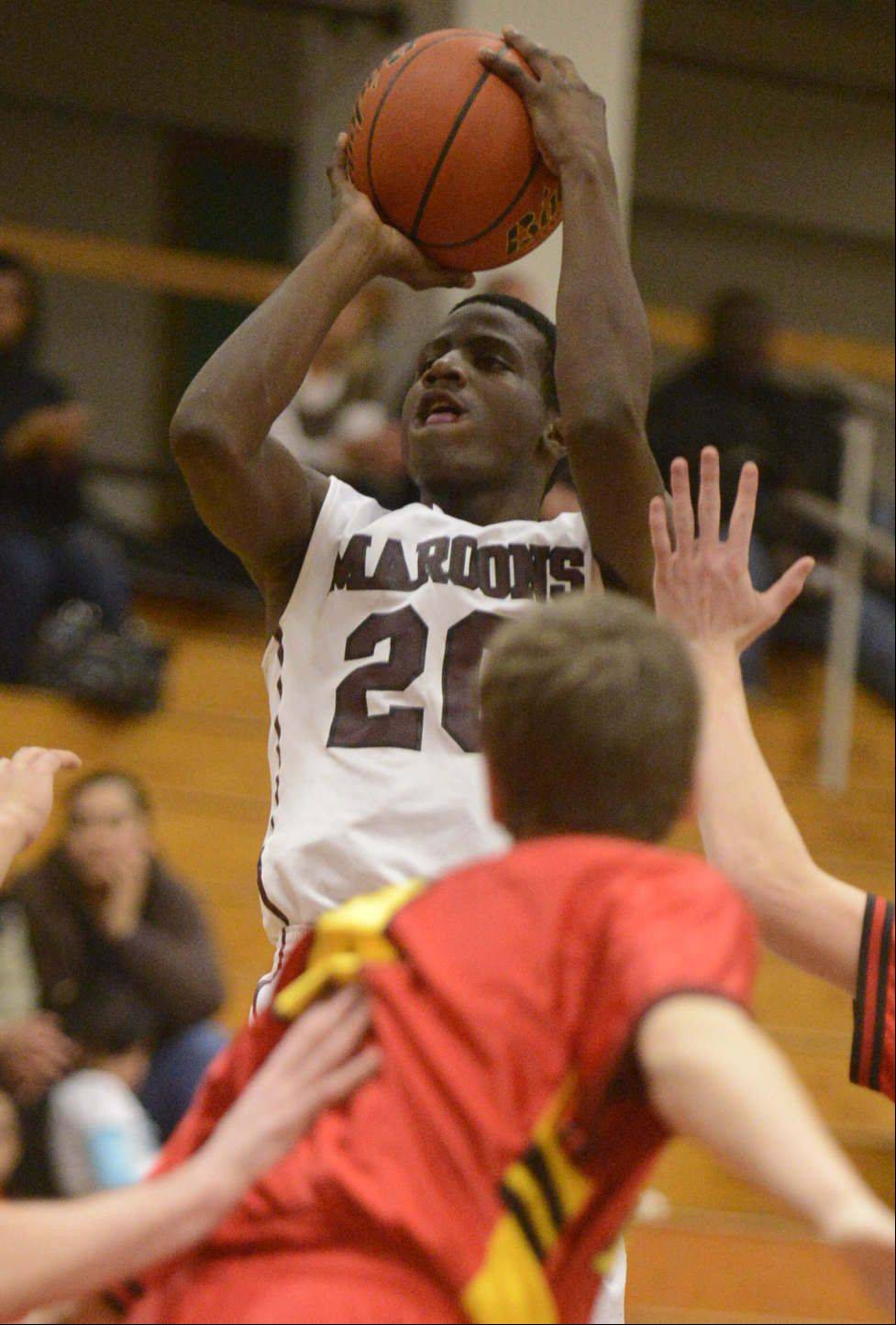 Elgin's Isaiah Butler competes against Batavia earlier this season. The Maroons travel to Larkin tonight.