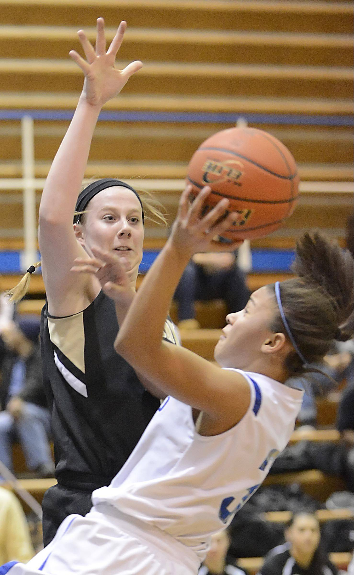 Streamwood's Hannah McGlone goes up to block a shot by Larkin's Marlee Kyles Thursday in Elgin.