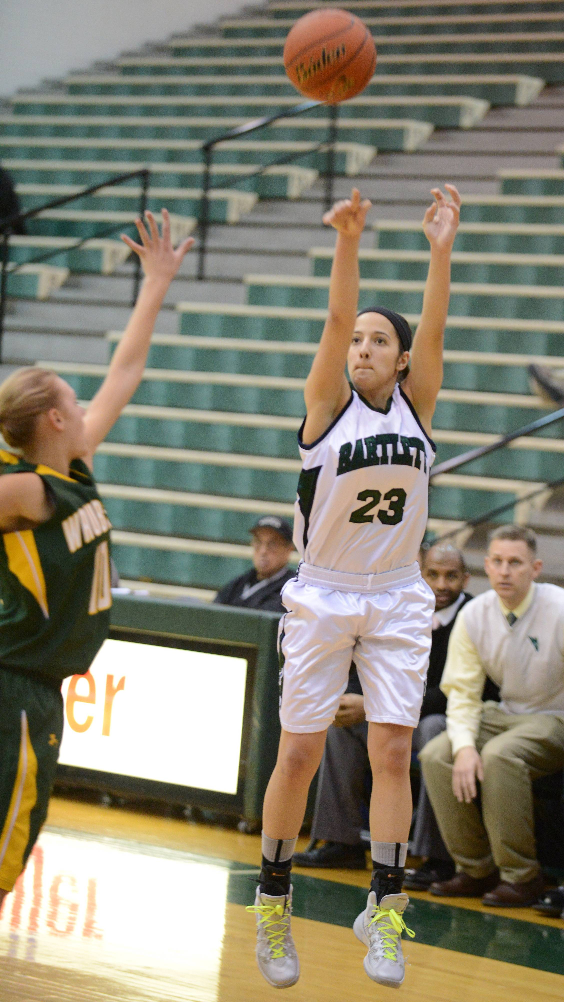 Bartlett's Ally Giampapa puts up a shot against Waubonsie Valley earlier this season.