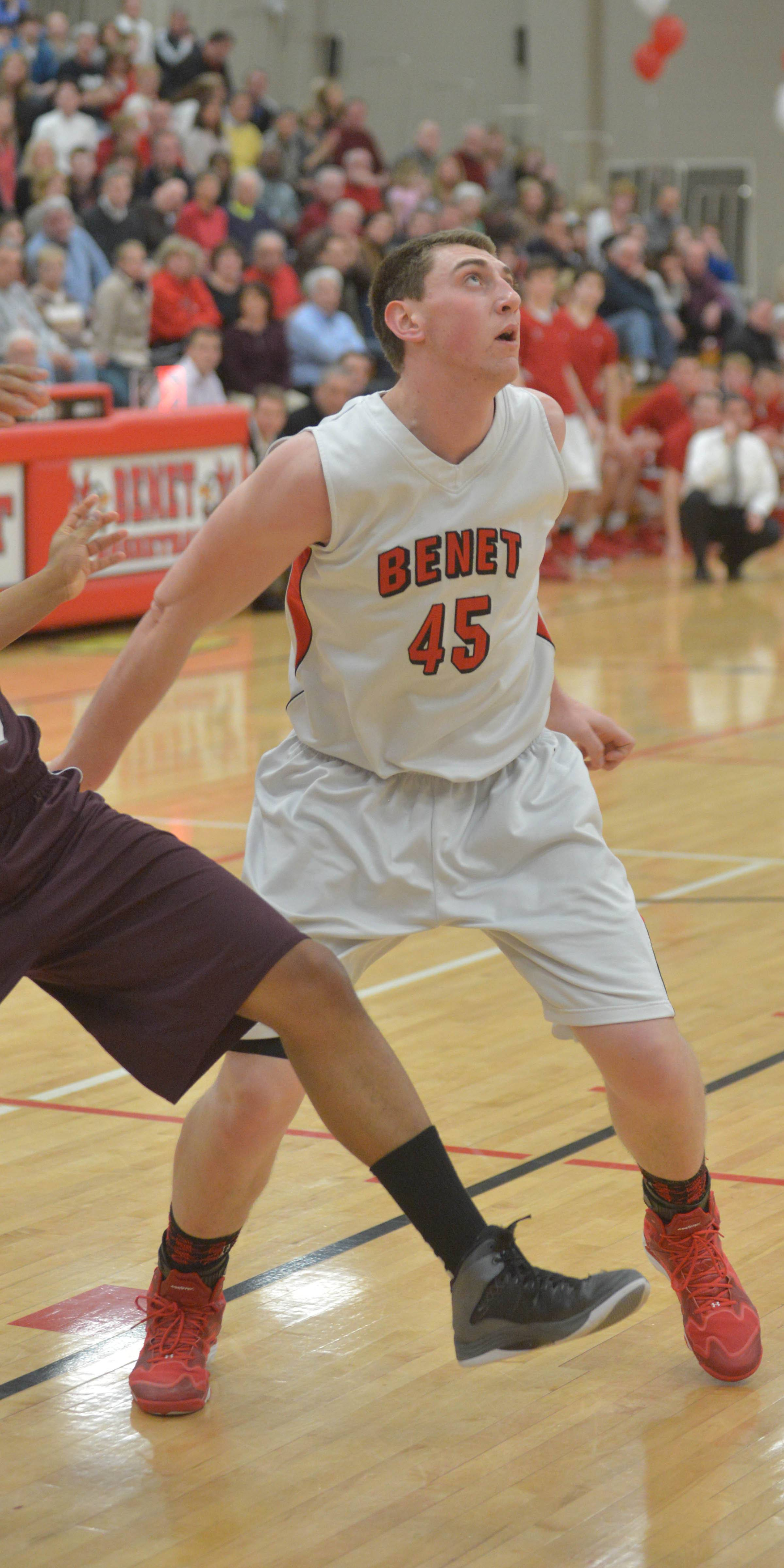 Sean O'Mara of Benet looks for the ball.