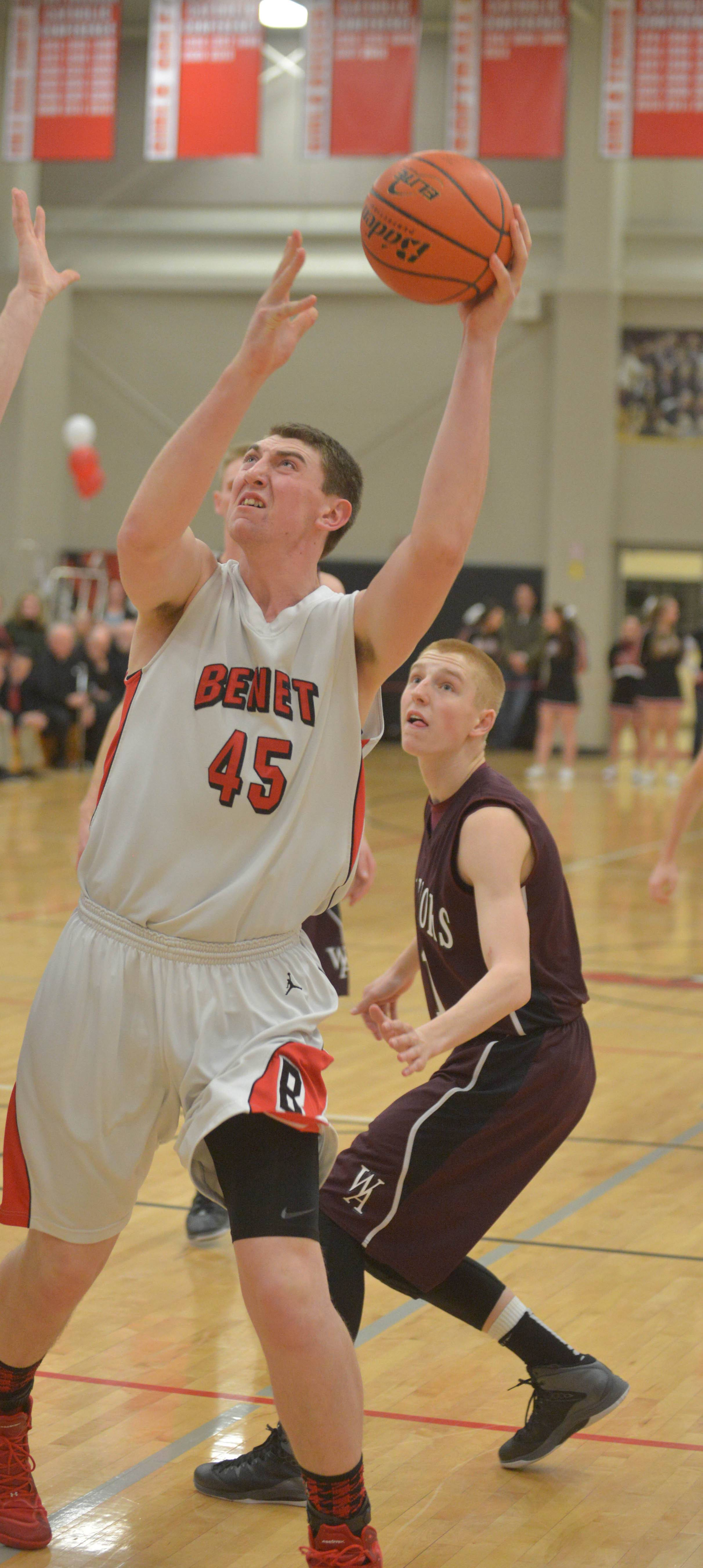 Sean O'Mara of Benet takes a shot .