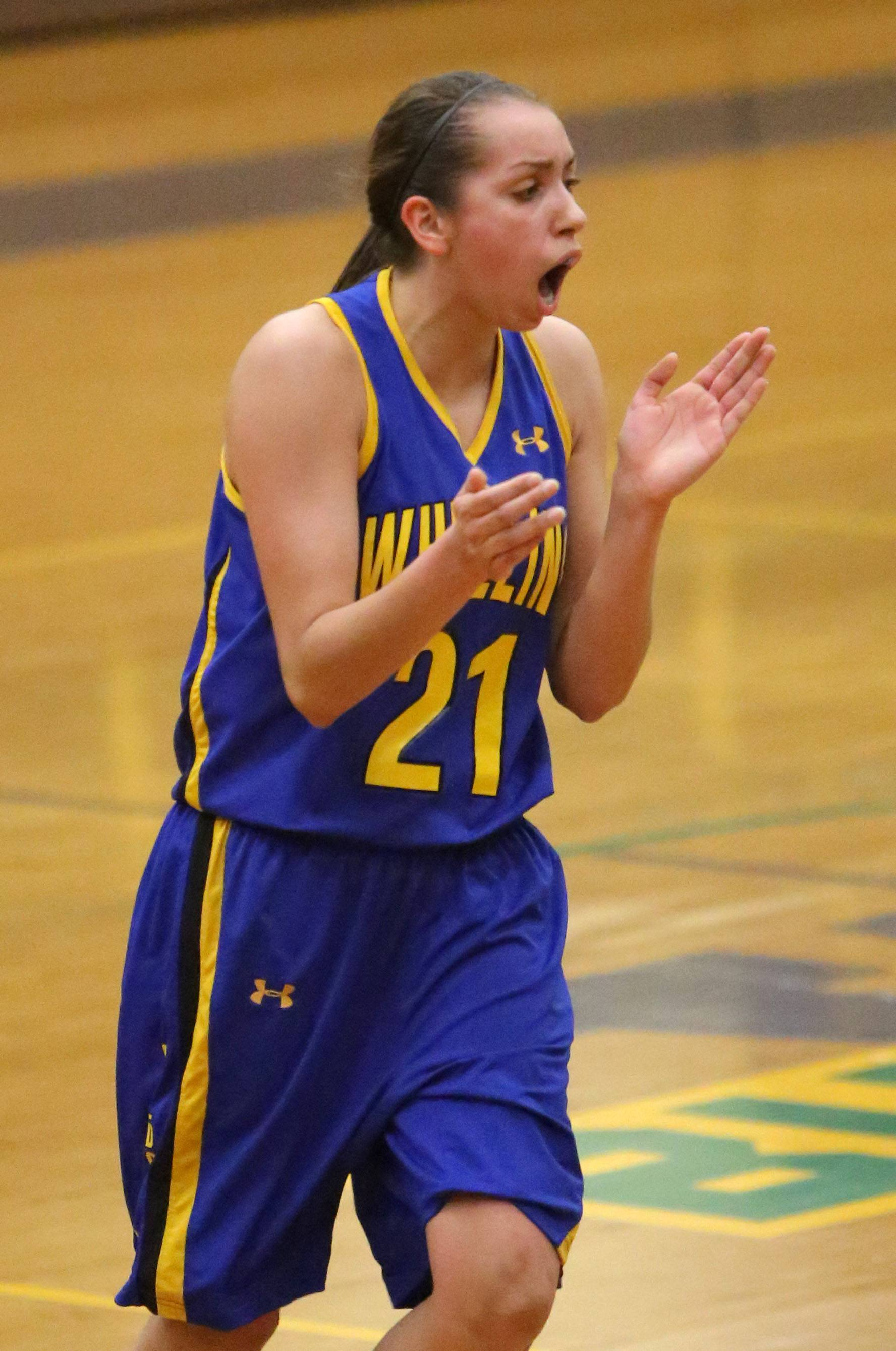 Wheeling's Deanna Kuzmanic cheers during a time out.