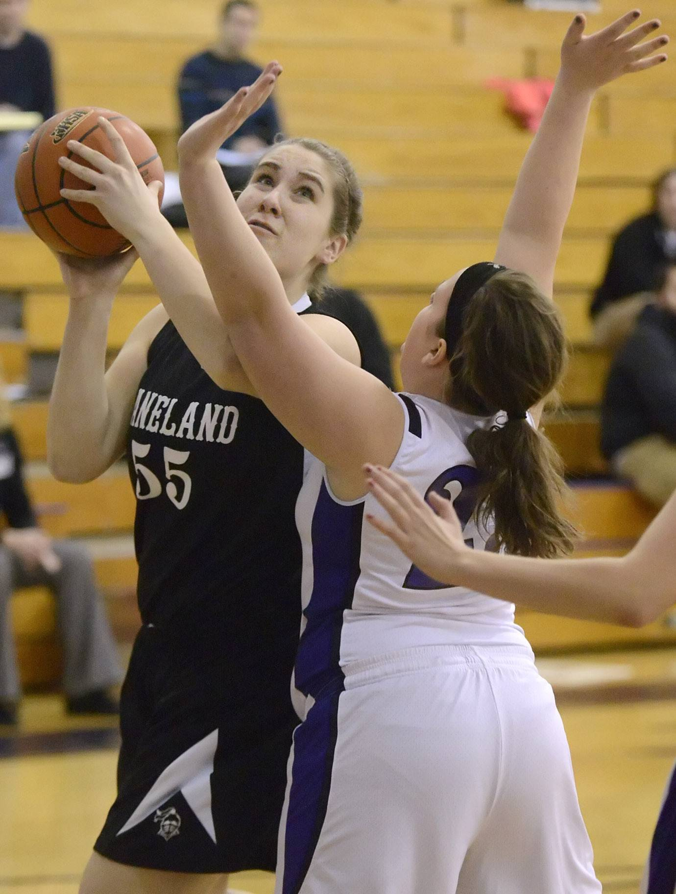 Kaneland's Bailey Crimmins shoots over a block by Plano's Lauren Chernick in the first quarter.