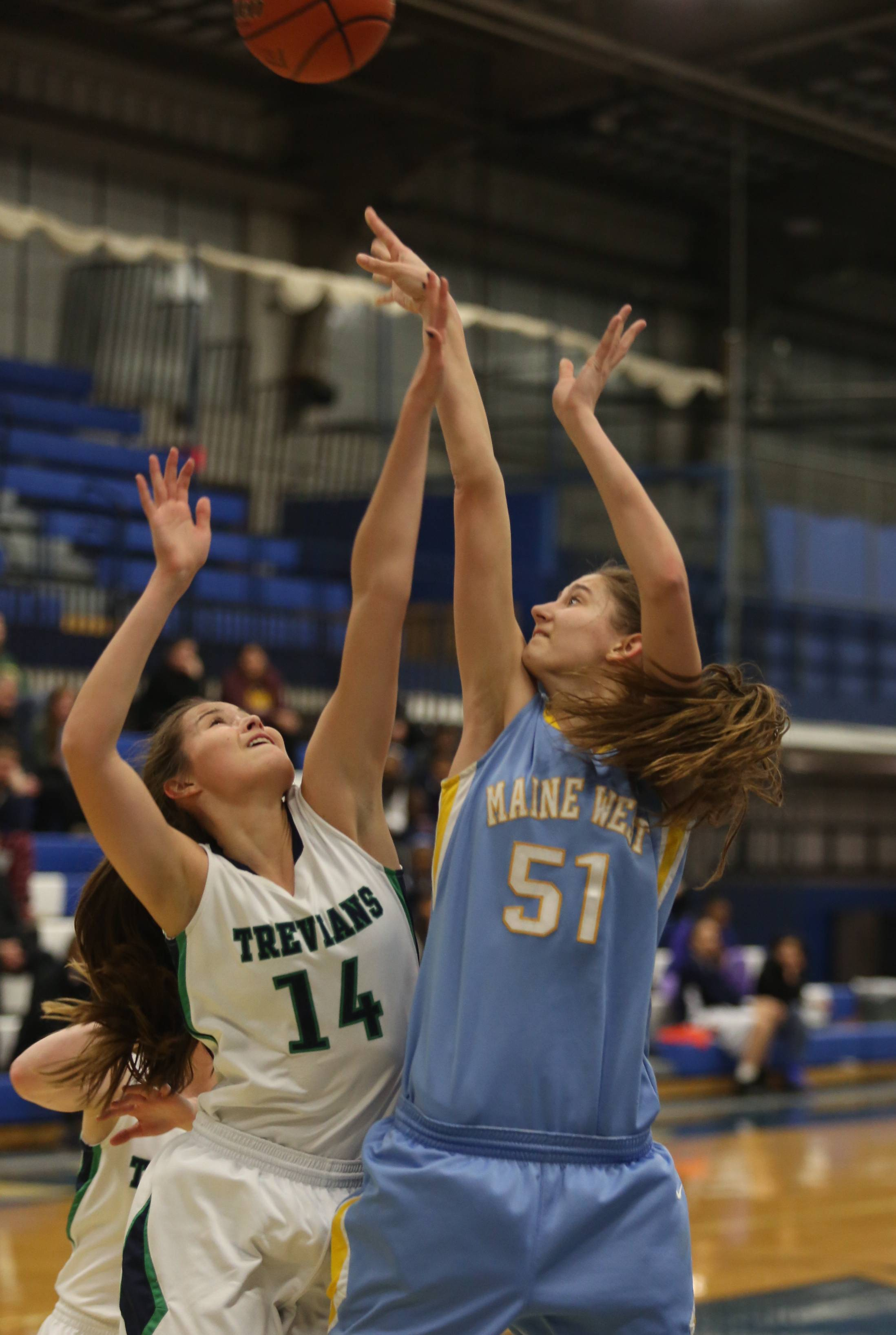 Images from the Maine West vs. New Trier girls basketball game on Monday, February 24 in Park Ridge.